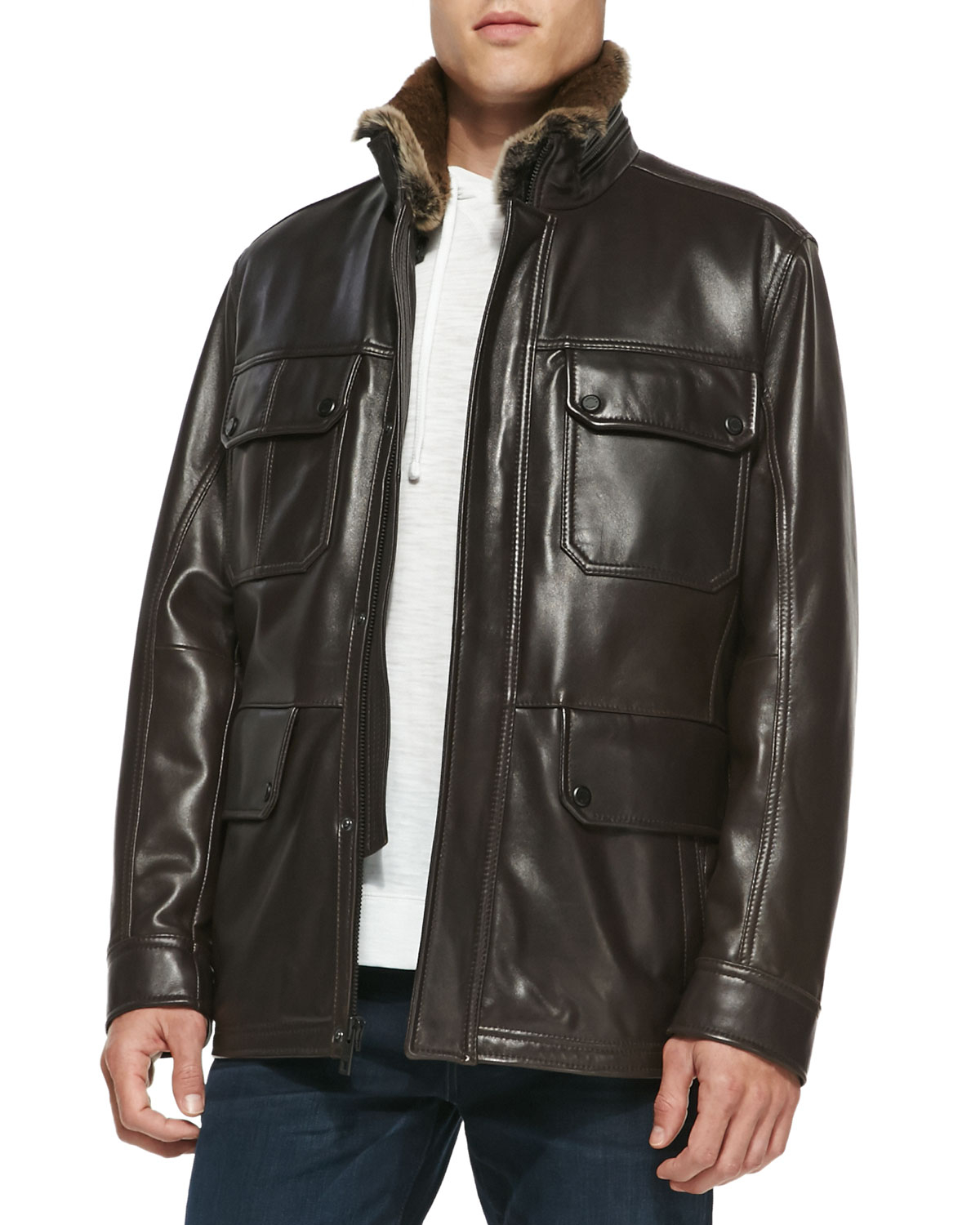 Andrew marc Fur-Lined Leather Car Coat in Brown for Men | Lyst