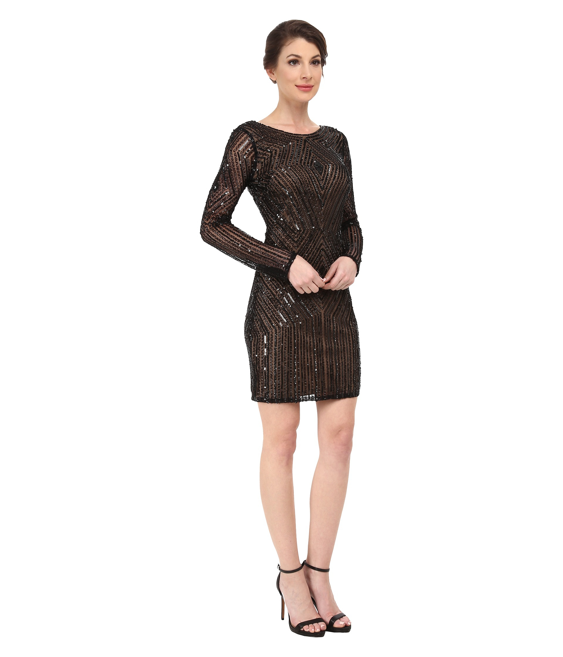 b2e155d2a1 Adrianna Papell Diamond Pattern Long Sleeve Beaded Cocktail Dress in ...