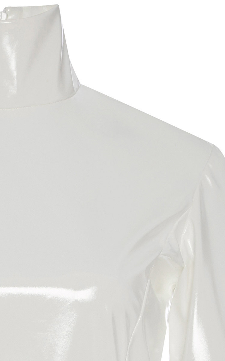 45d8a9d100 Lyst - TOME White Pvc Peplum Turtleneck Top in White