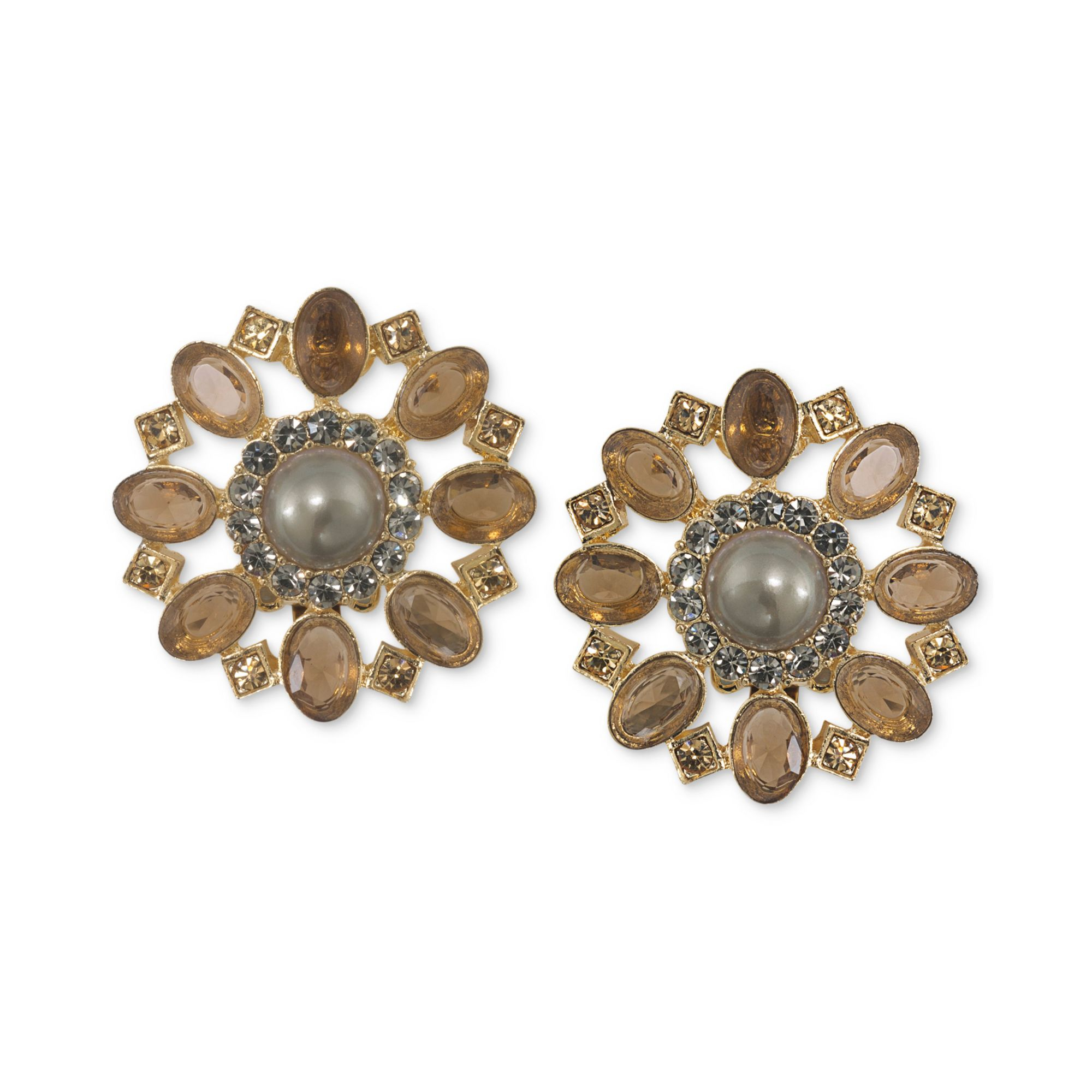 Button Earrings: Carolee Gold Tone Brown Crystal Cluster Flower Button
