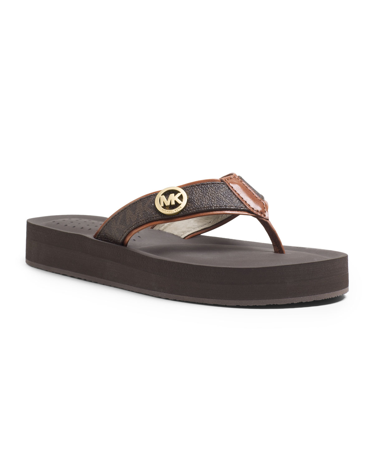 e551756c7ebce1 Lyst - Michael Kors Michael Gage Flipflops in Brown