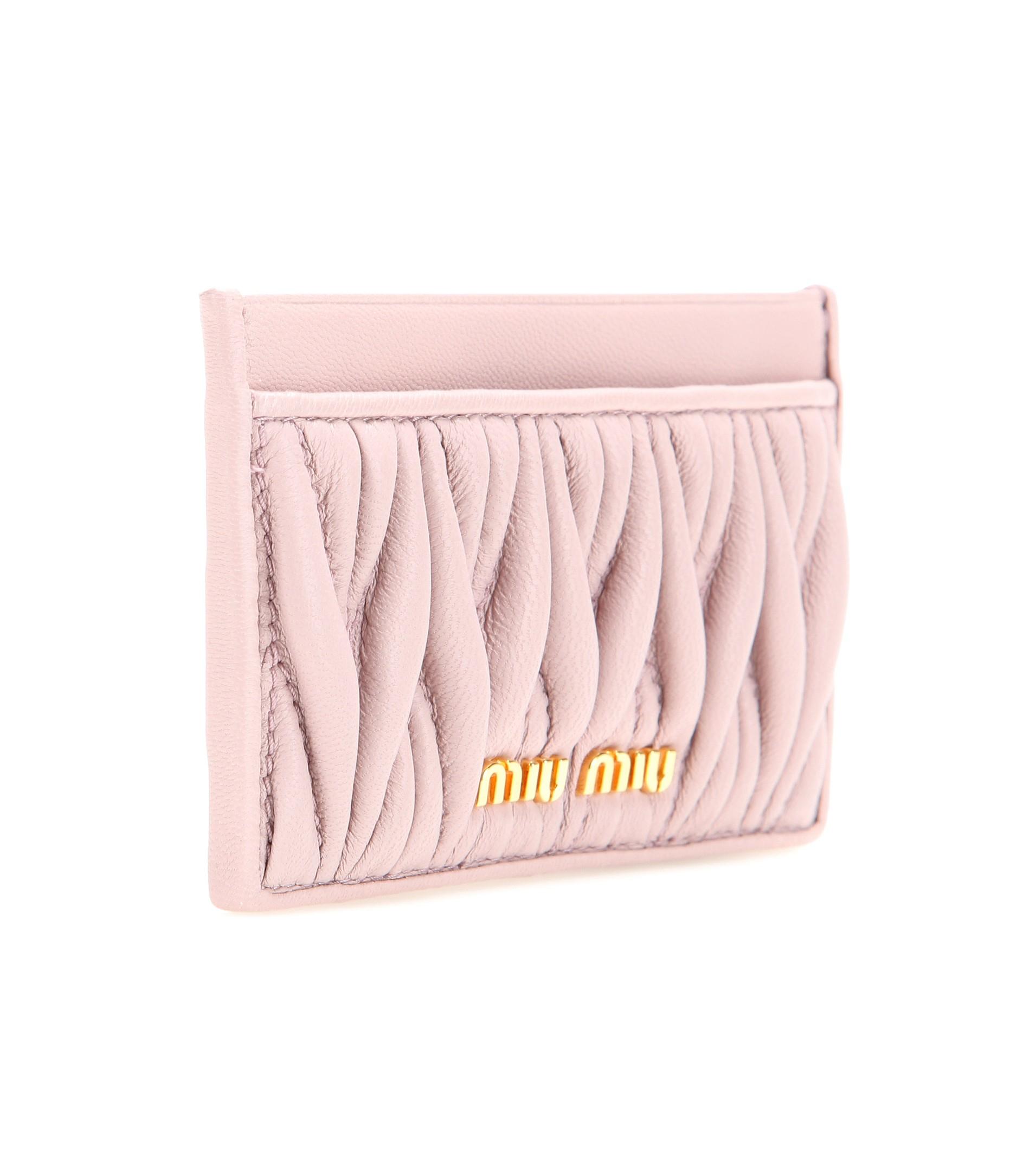 Lyst - Miu Miu Matelassé Leather Card Holder in Pink a2e7a9a500a79