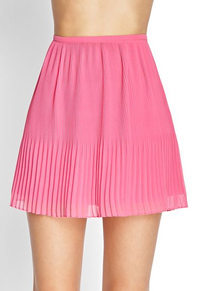 forever 21 pleated chiffon skirt in pink lyst