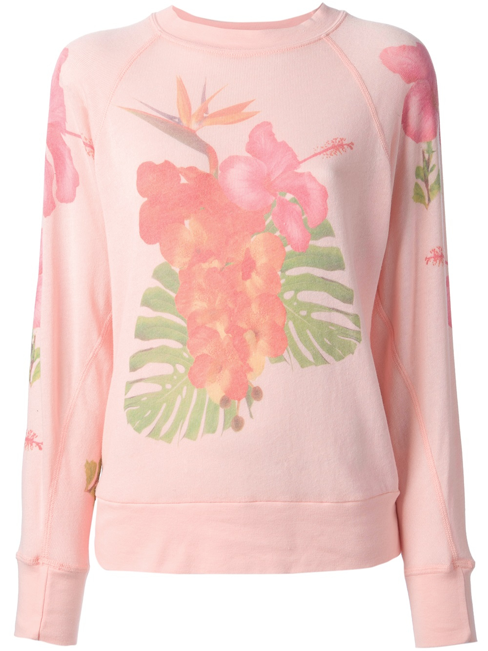 Wildfox white label Floral Print Sweatshirt in Pink | Lyst