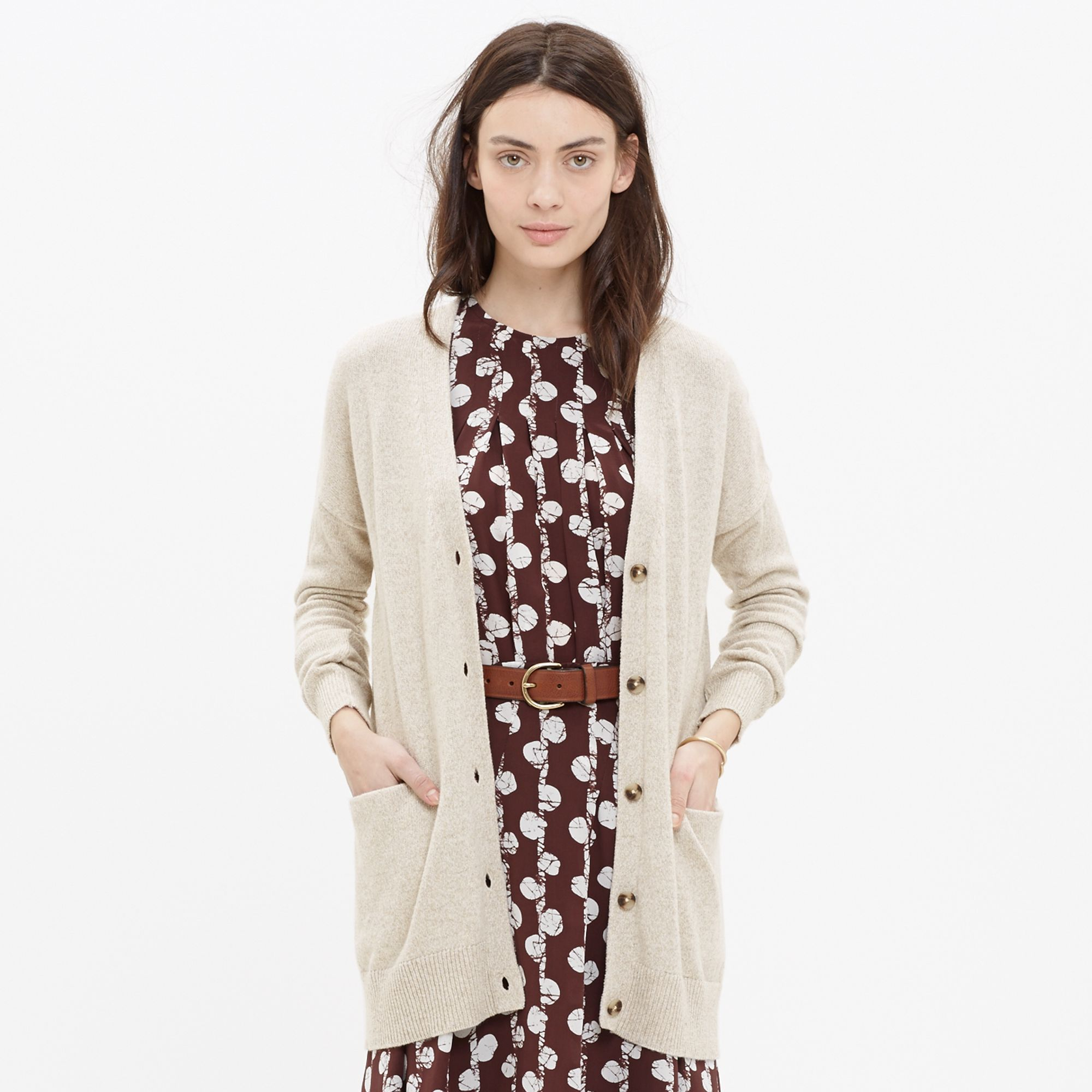 Madewell Long Cardigan Sweater in Natural | Lyst
