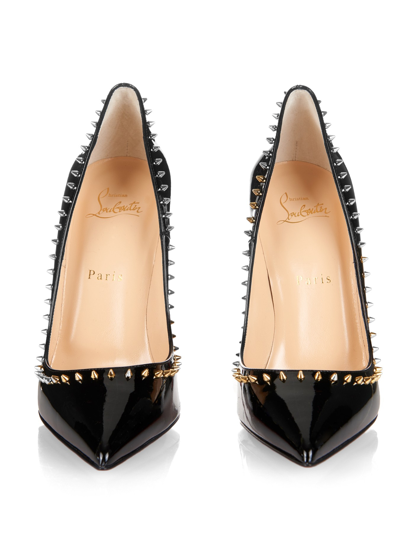 cheap christian louboutin shoes replica - Christian louboutin Anjalina Studded Patent Leather Pumps in Black ...