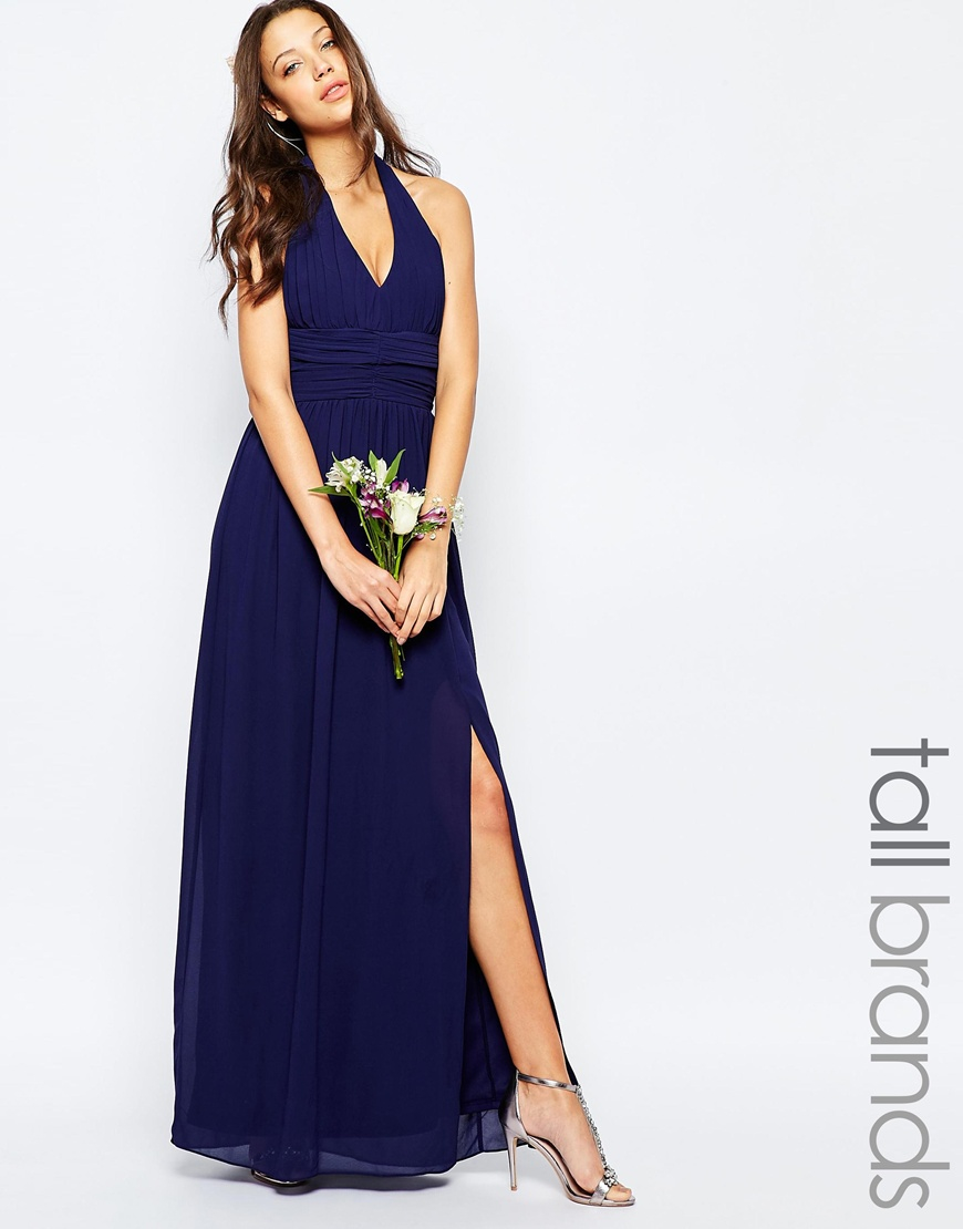 c9baaba83f3d TFNC London Tfnc Wedding Tall Halter Neck Chiffon Maxi Dress in Blue ...