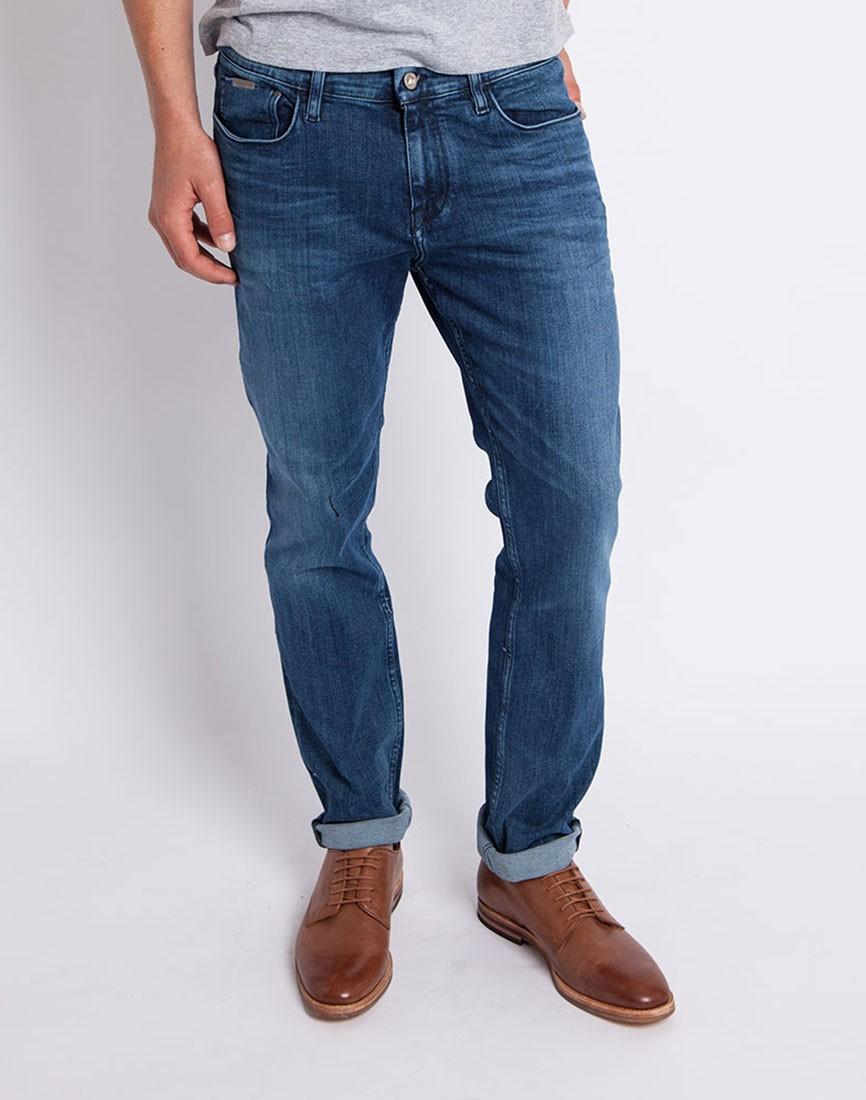calvin klein jeans slim straight jean blue in blue for men. Black Bedroom Furniture Sets. Home Design Ideas