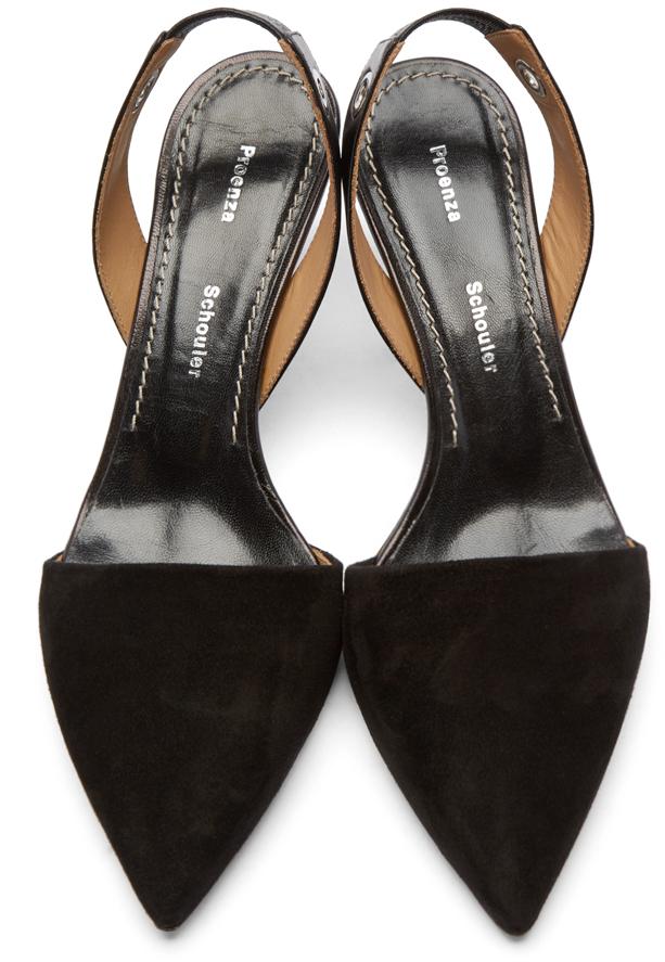 Proenza schouler Black Slingback Kitten Heels in Black | Lyst