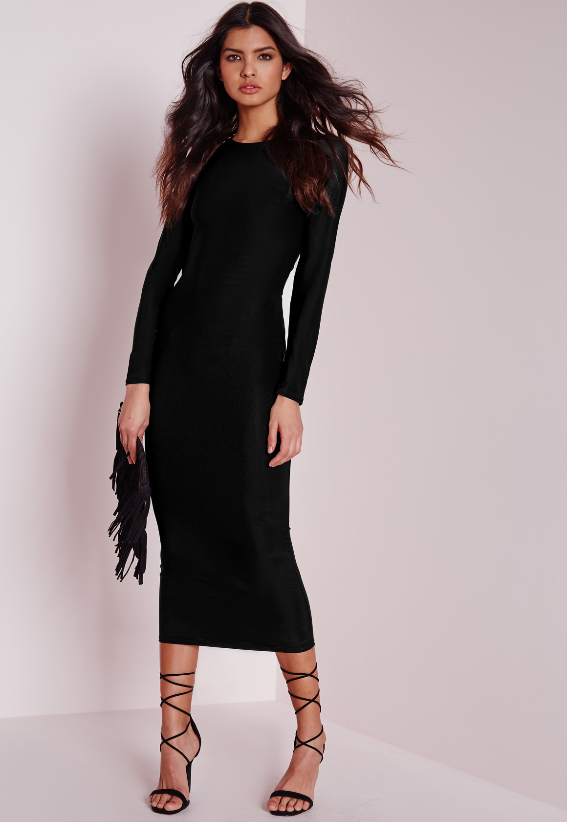 aa0829dd4fb7 Missguided Long Sleeve Lace Up Back Midi Dress Black in Black - Lyst