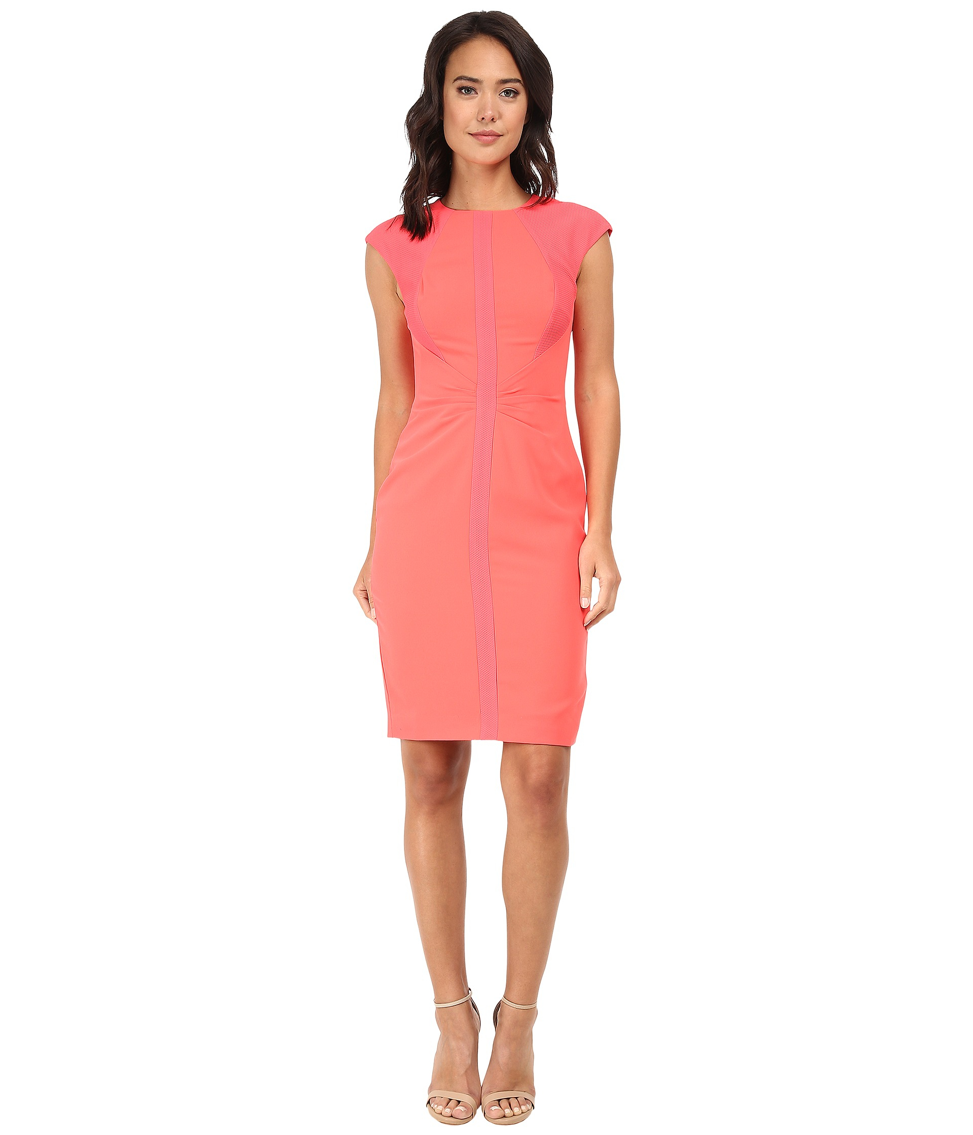 Ted baker Acerola Mesh Panel Pencil Skirt Dress in Orange | Lyst