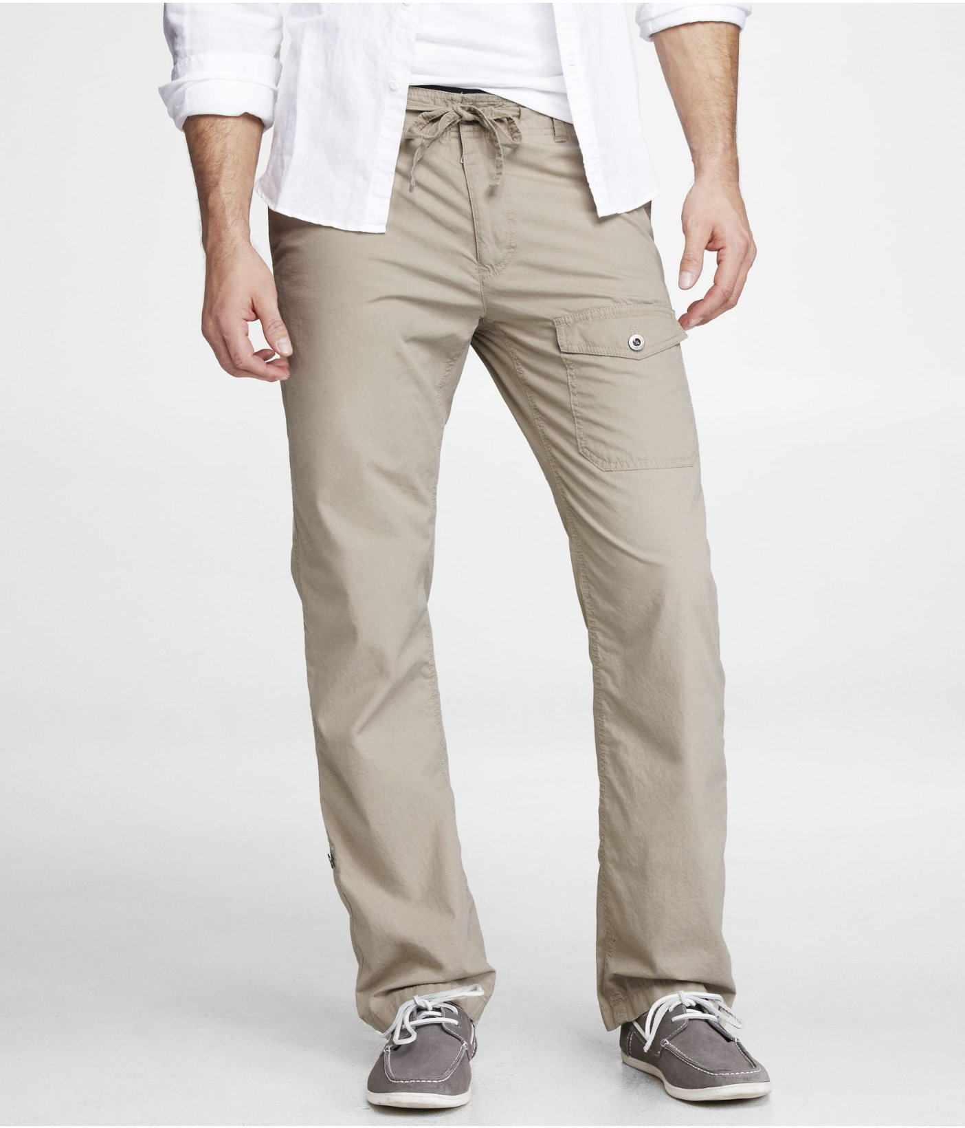 Mens Drawstring Khaki Pants 8