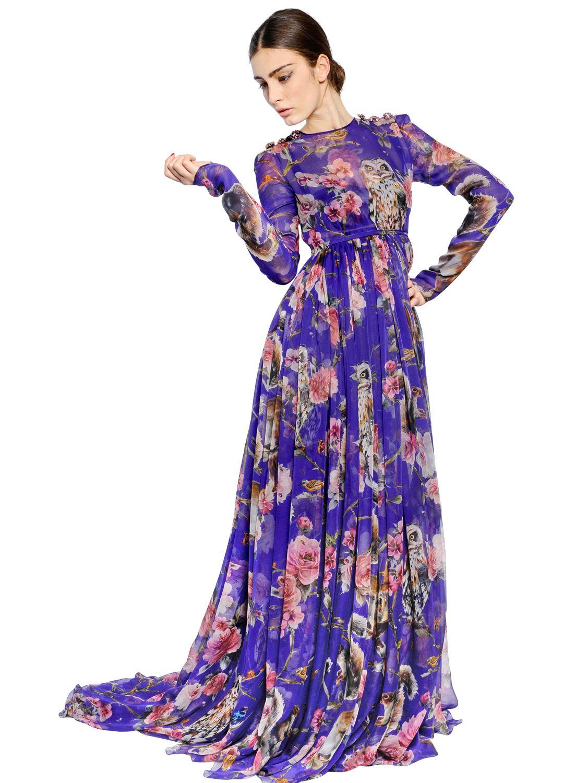 Lyst Dolce Amp Gabbana Floral Printed Silk Chiffon Dress