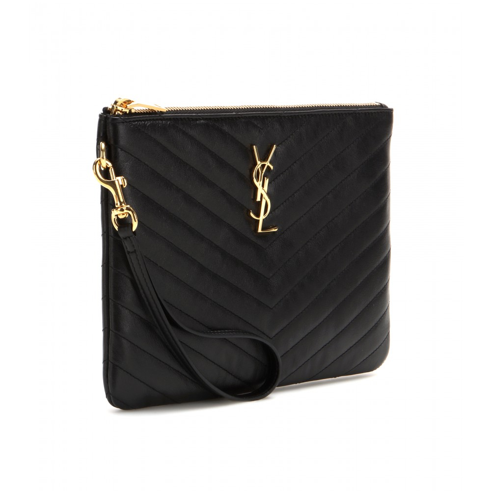 ffe5aa3b4da1e Lyst - Saint Laurent Monogramme Quilted-Leather Clutch in Black