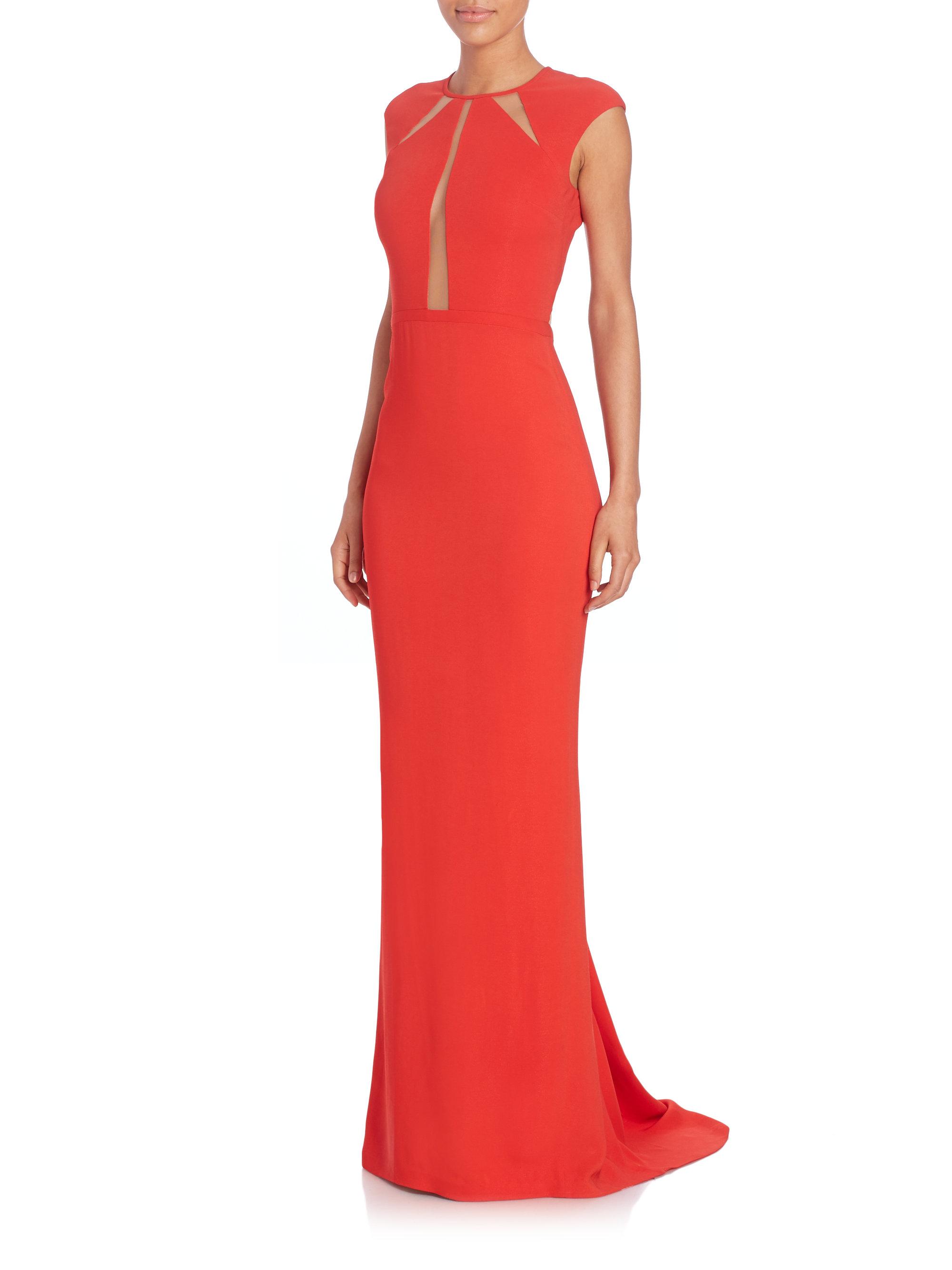 Lyst - Michael Kors Illusion-inset Gown in Orange