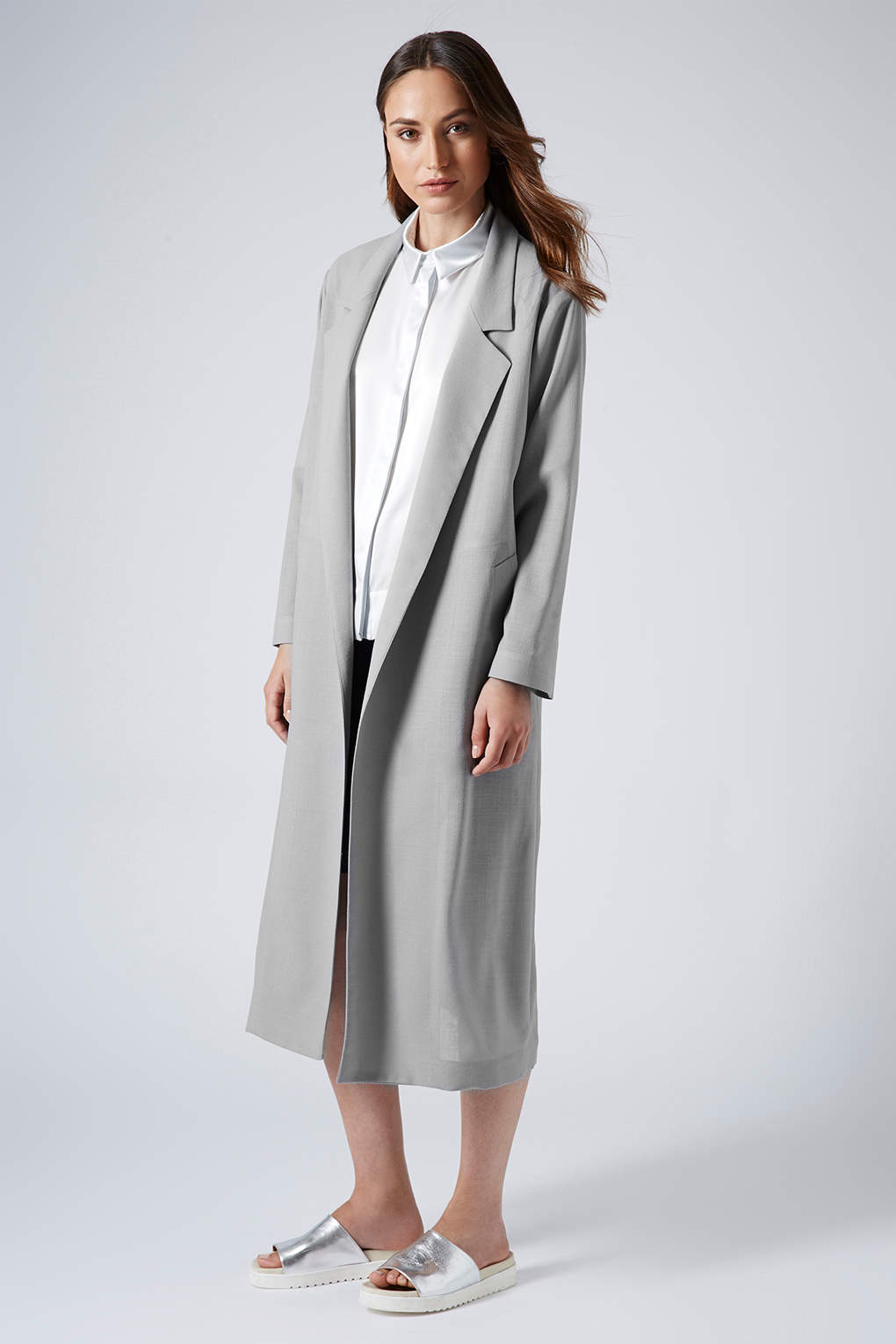 Topshop Summer Light Wool Coat By Boutique in Gray | Lyst