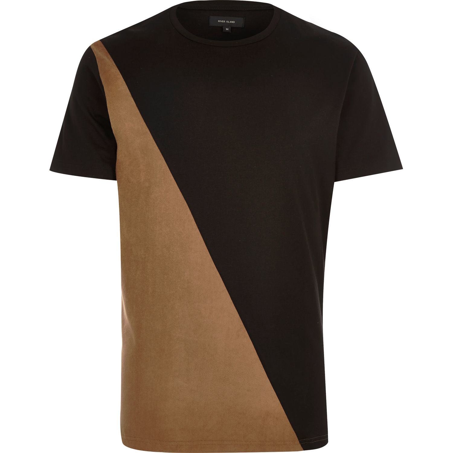 River Island Black Faux Suede Panel T shirt In For Men Lyst