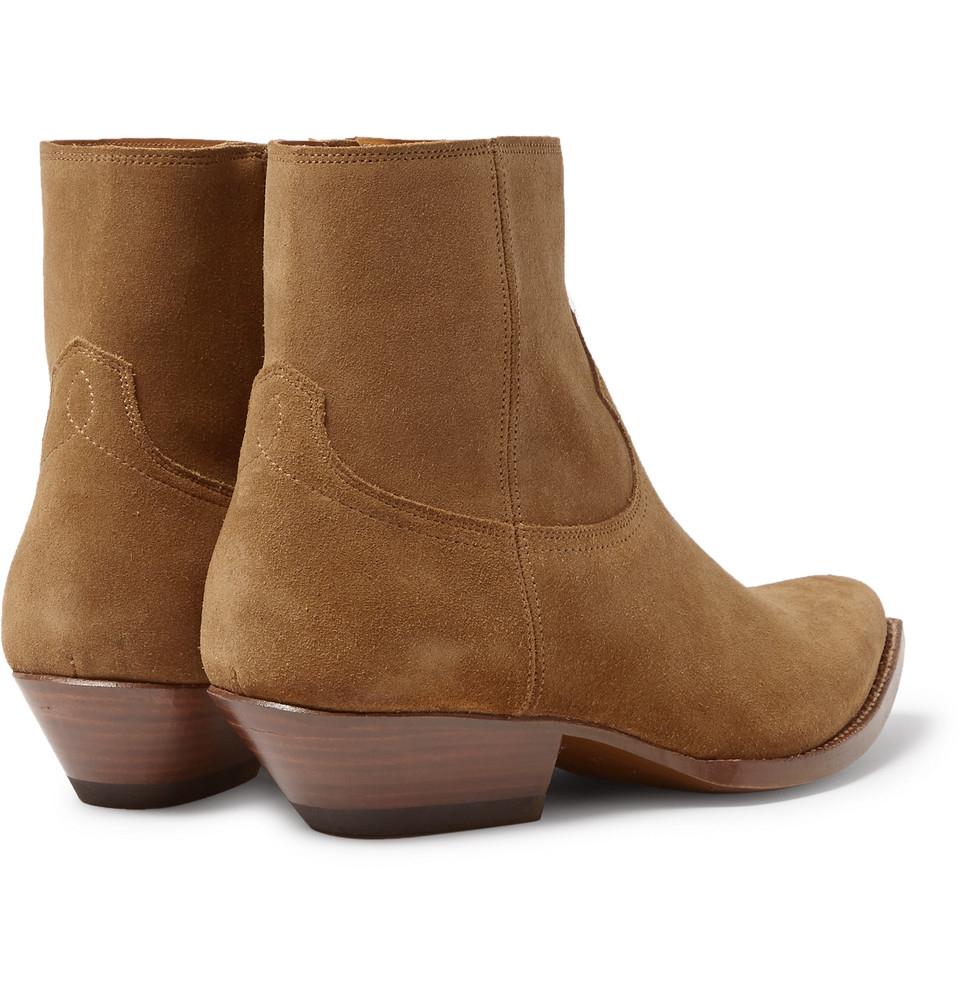 Saint laurent Suede Cowboy Boots in Brown for Men   Lyst