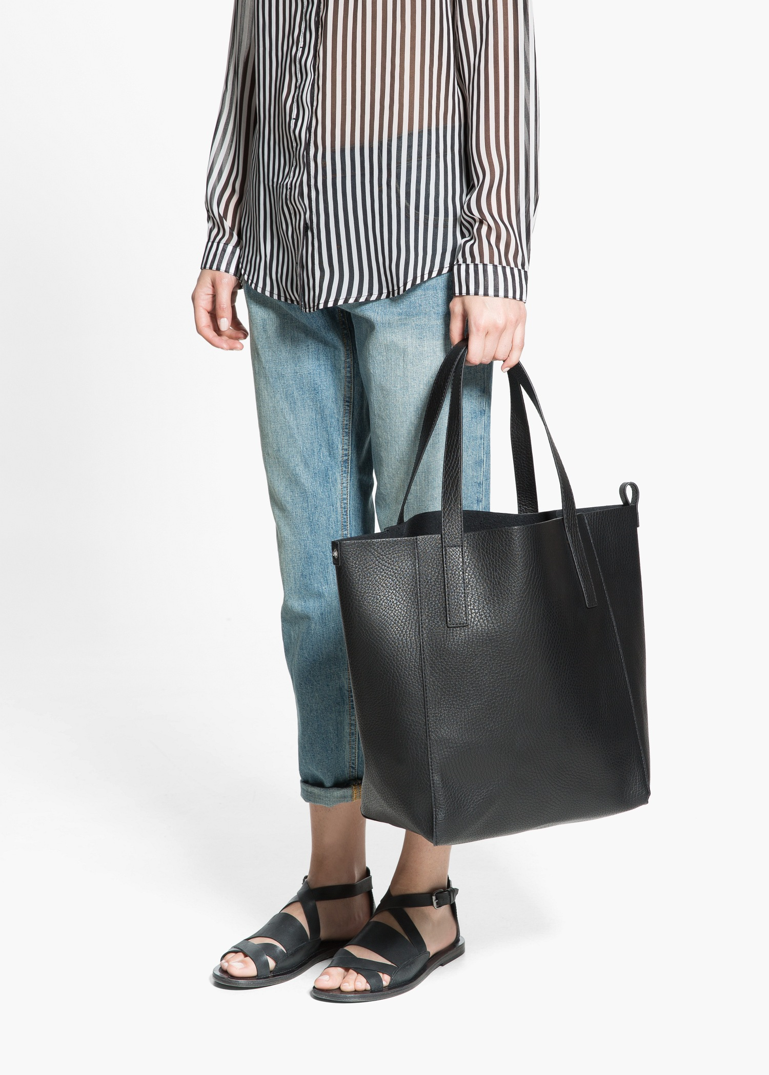 Fabulous Lyst - Mango Faux-Leather Shopper Bag in Black JY95