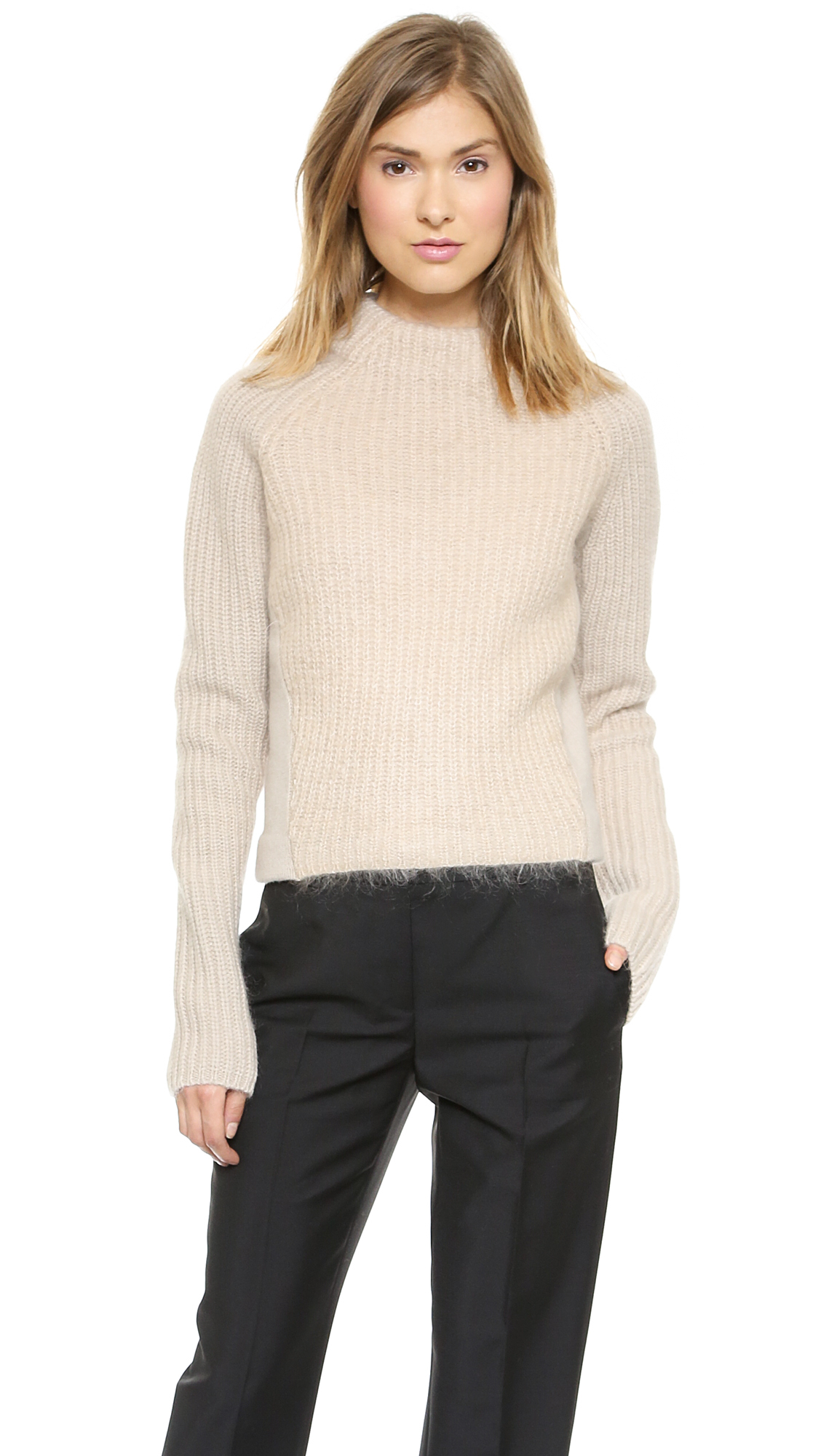 acne studios loyal mixed knit sweater beige in natural lyst. Black Bedroom Furniture Sets. Home Design Ideas