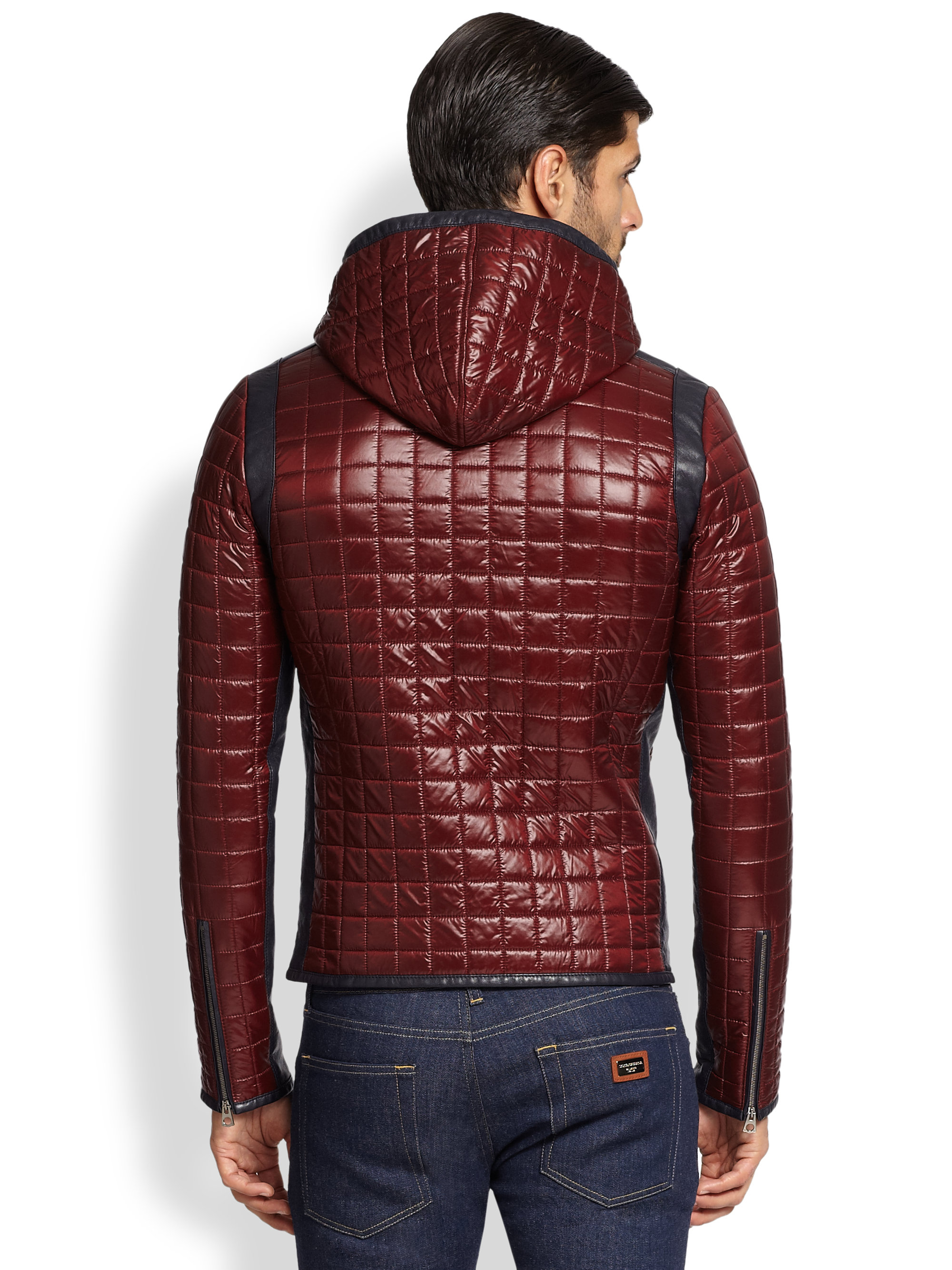 lyst dolce gabbana quilted puffer jacket in red for men. Black Bedroom Furniture Sets. Home Design Ideas