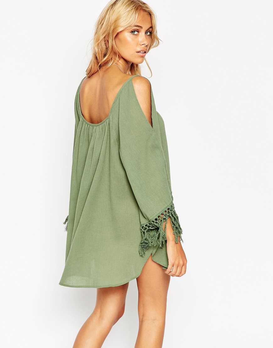 e3dc444d61c88 ASOS Cold Shoulder Fringed Beach Cover Up in Green - Lyst