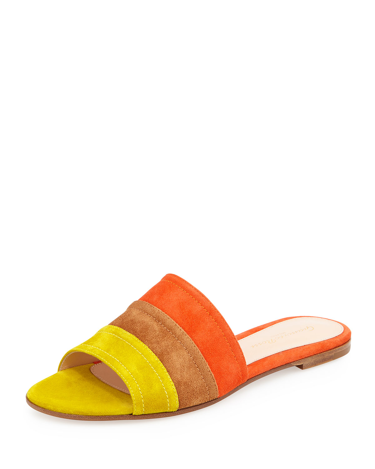 5458362268374 Gianvito Rossi Color-Blocked Suede Slide Sandals in Yellow - Lyst