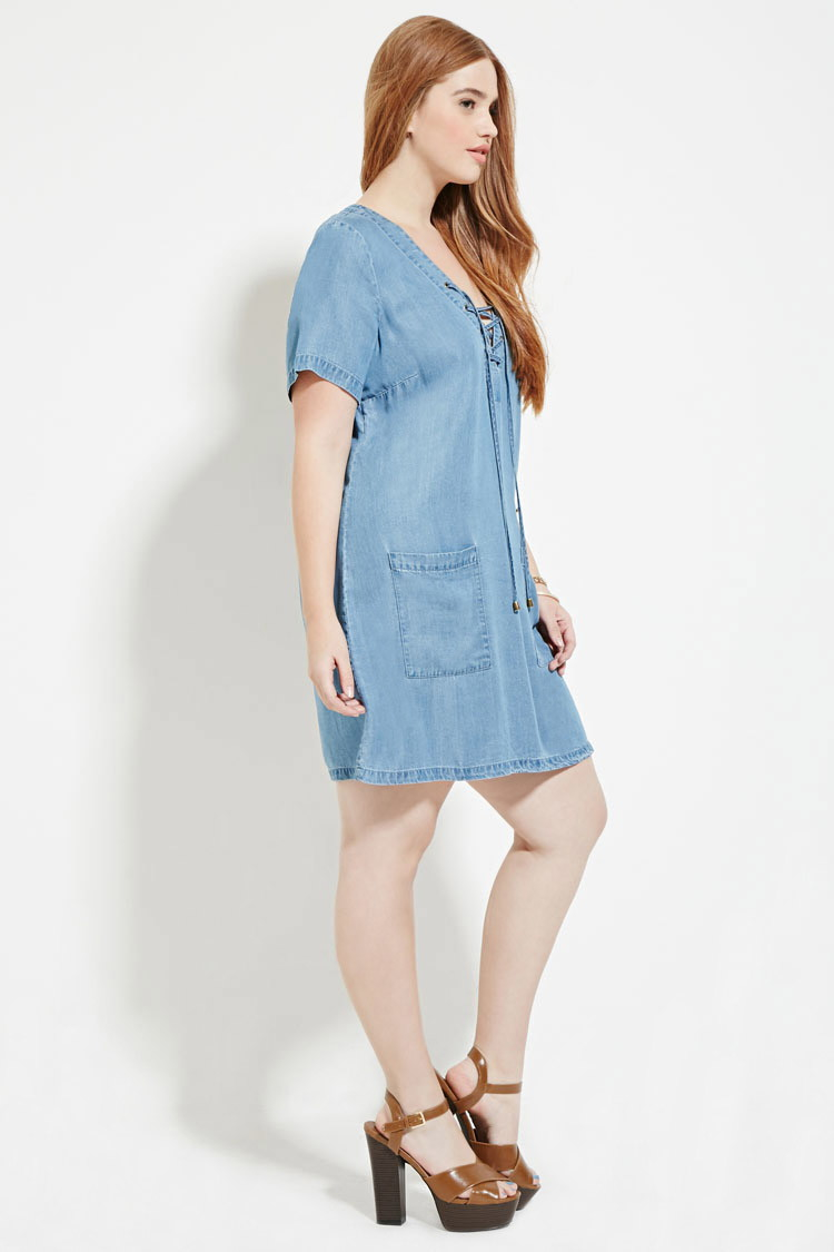 Lyst - Forever 21 Plus Size Lace-up Denim Dress You\'ve Been Added ...