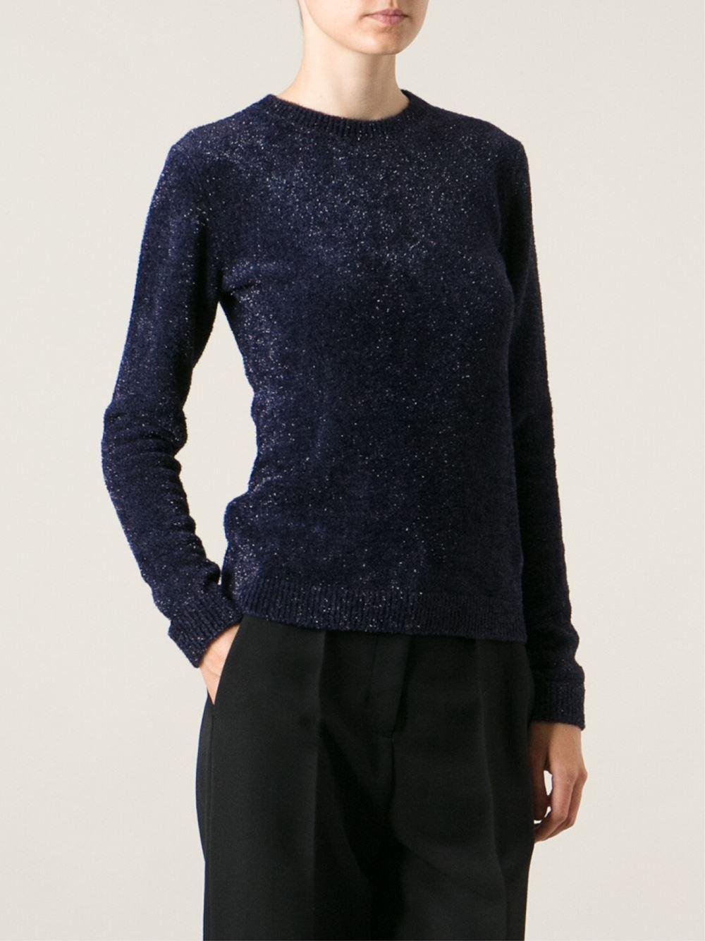 Msgm Glitter Sweater in Blue | Lyst