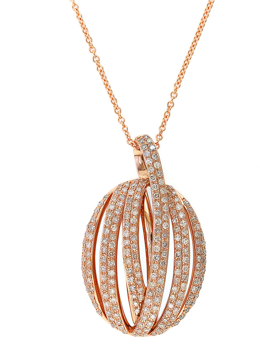 Lyst effy diamond and 14k rose gold pendant necklace 083 tcw in gallery aloadofball Image collections