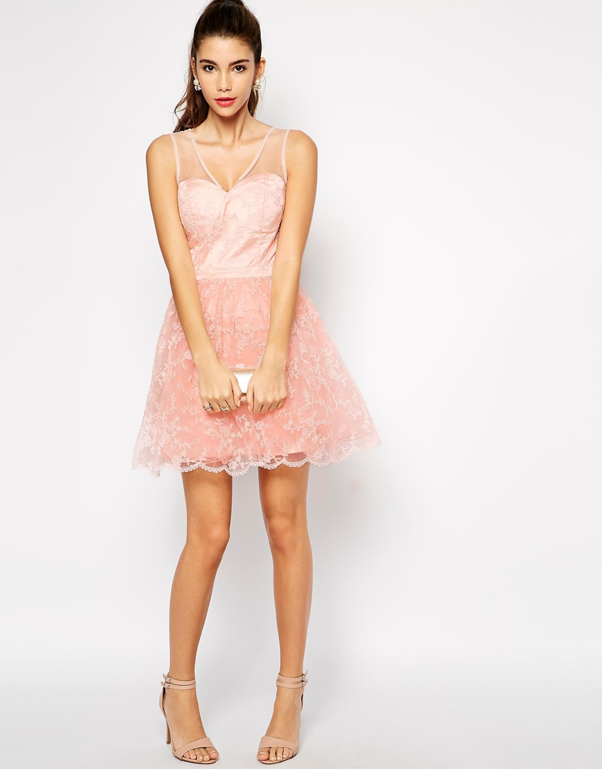 Lyst - Chi Chi London Keira Lace Prom Dress in Pink