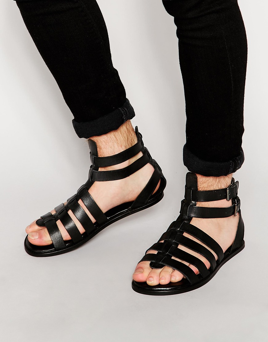 ed94c8d99e6e Lyst - ASOS Gladiator Sandals In Black Leather With Buckles in Black ...