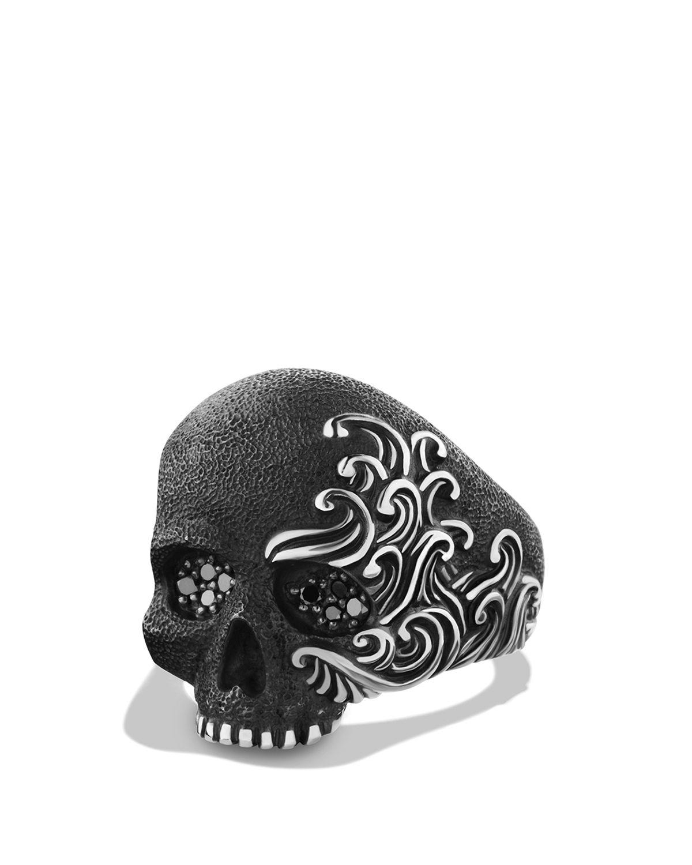 David Yurman Waves Large Skull Ring With Black Diamonds in ...