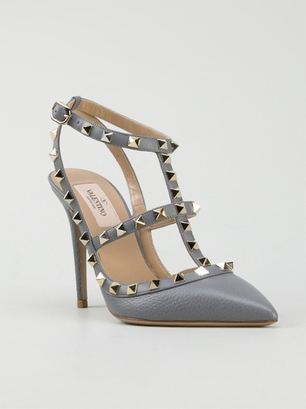lyst valentino rockstud pumps in gray. Black Bedroom Furniture Sets. Home Design Ideas