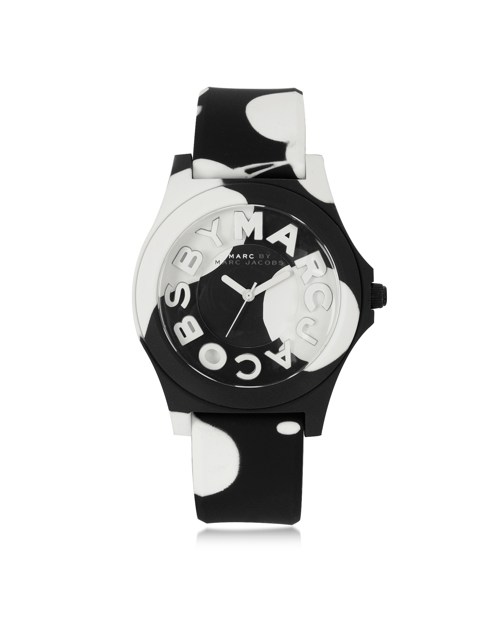 b18ef37a1fb Marc By Marc Jacobs Sloane 40 Mm Black And White Silicone Strap And ...