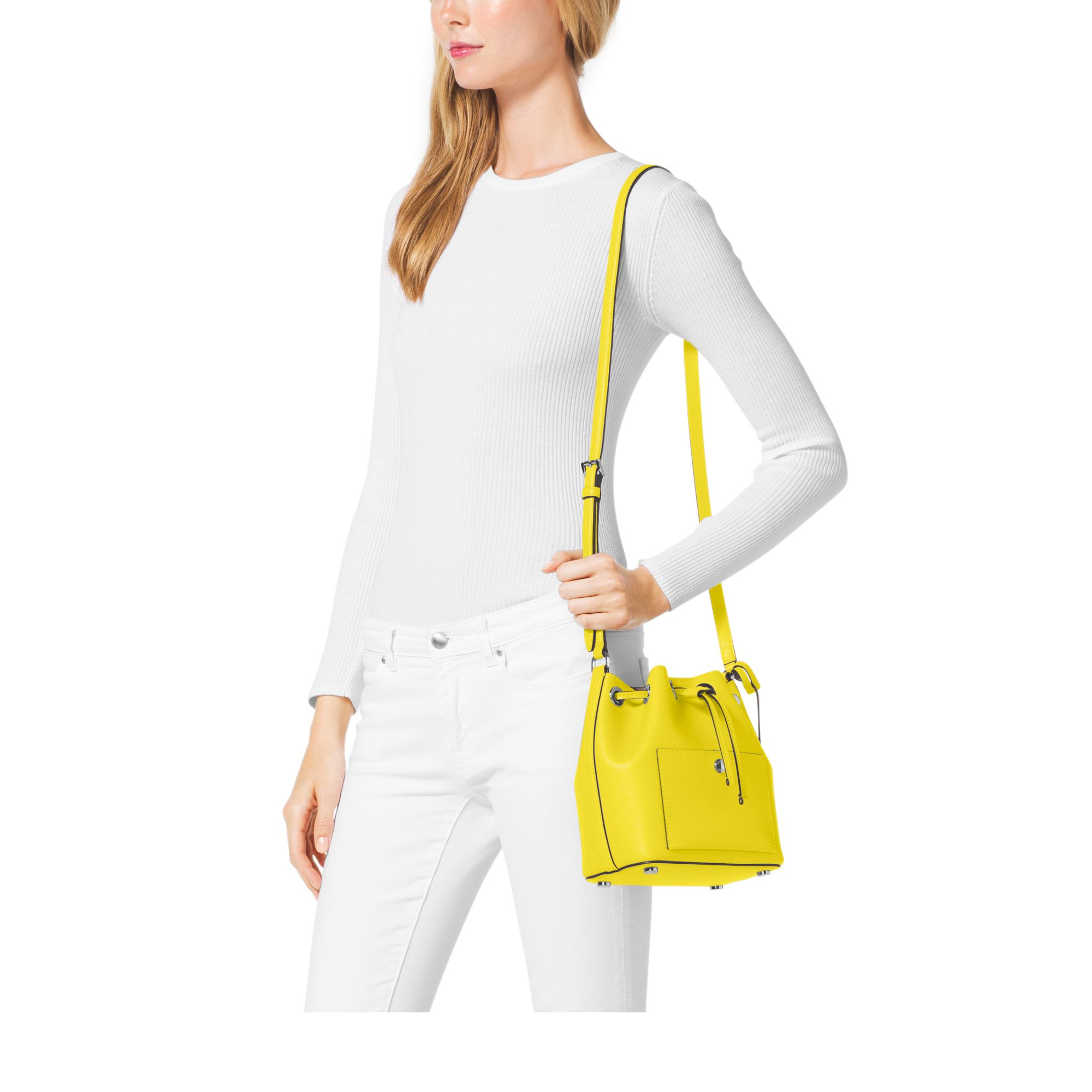 80946d08949e Lyst - Michael Kors Greenwich Small Saffiano Leather Bucket Bag in ...