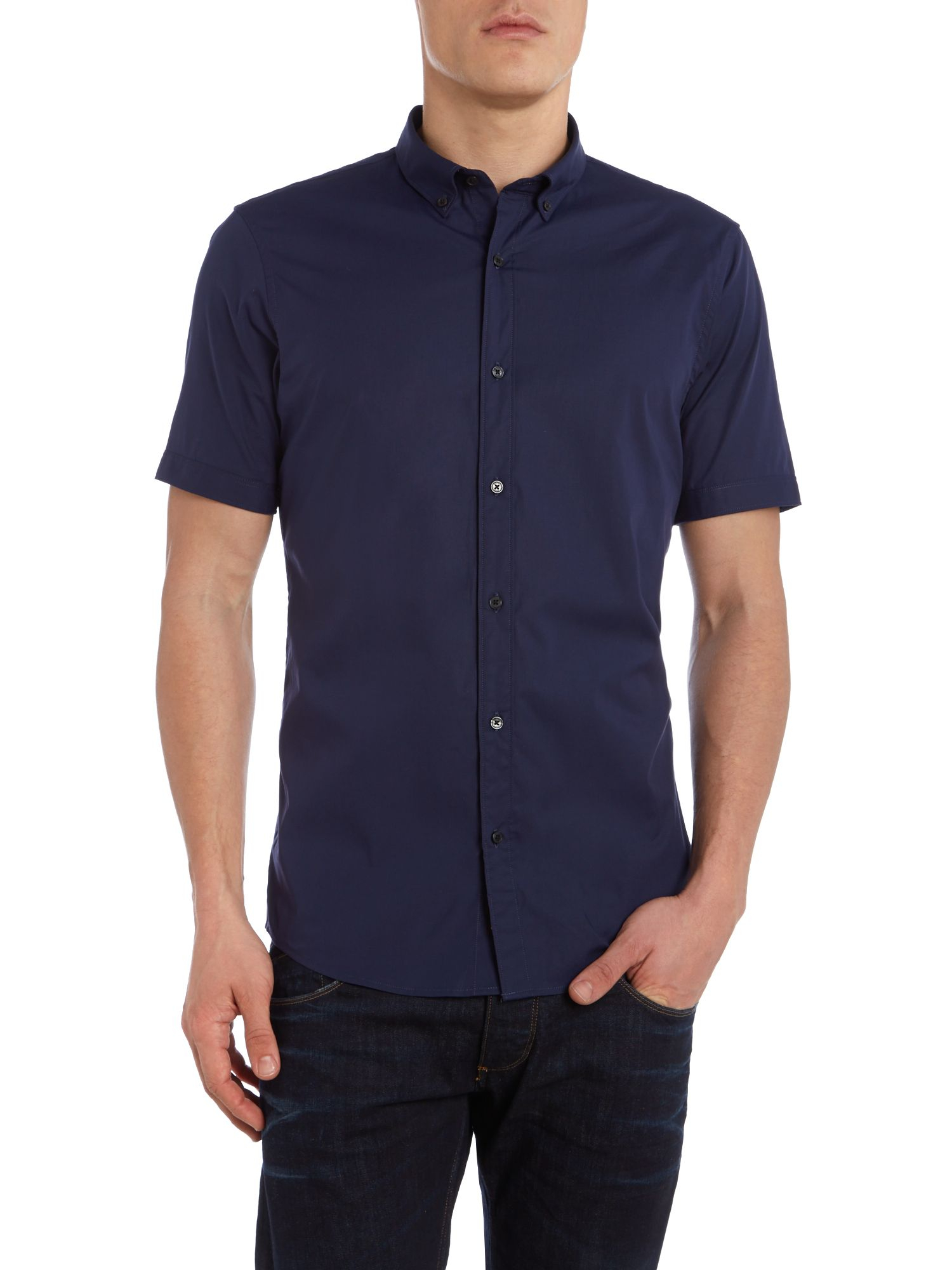 Lyst michael kors slim fit short sleeve button down for Athletic fit button down shirts