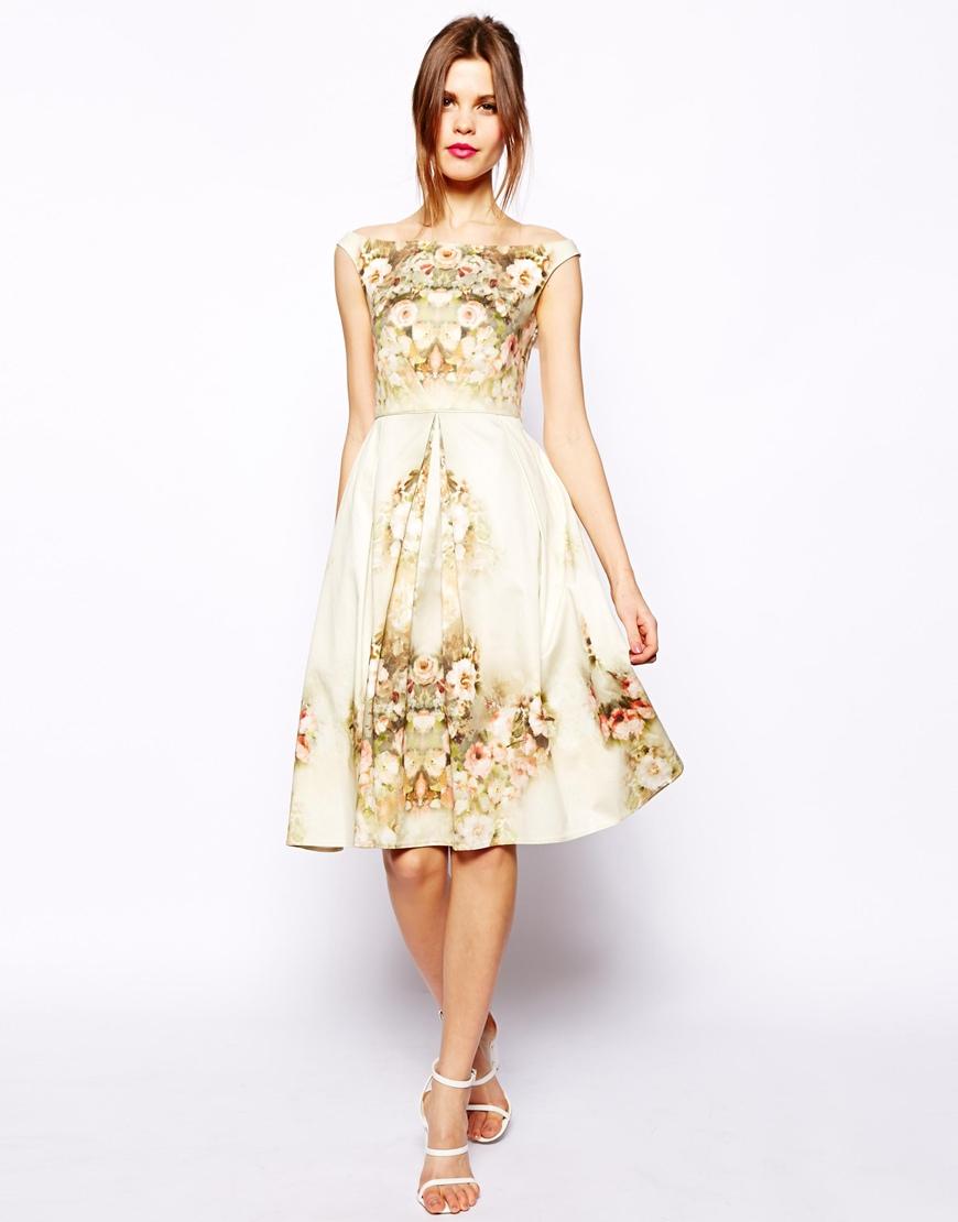 Asos Vintage Floral Midi Bardot Dress In White Lyst