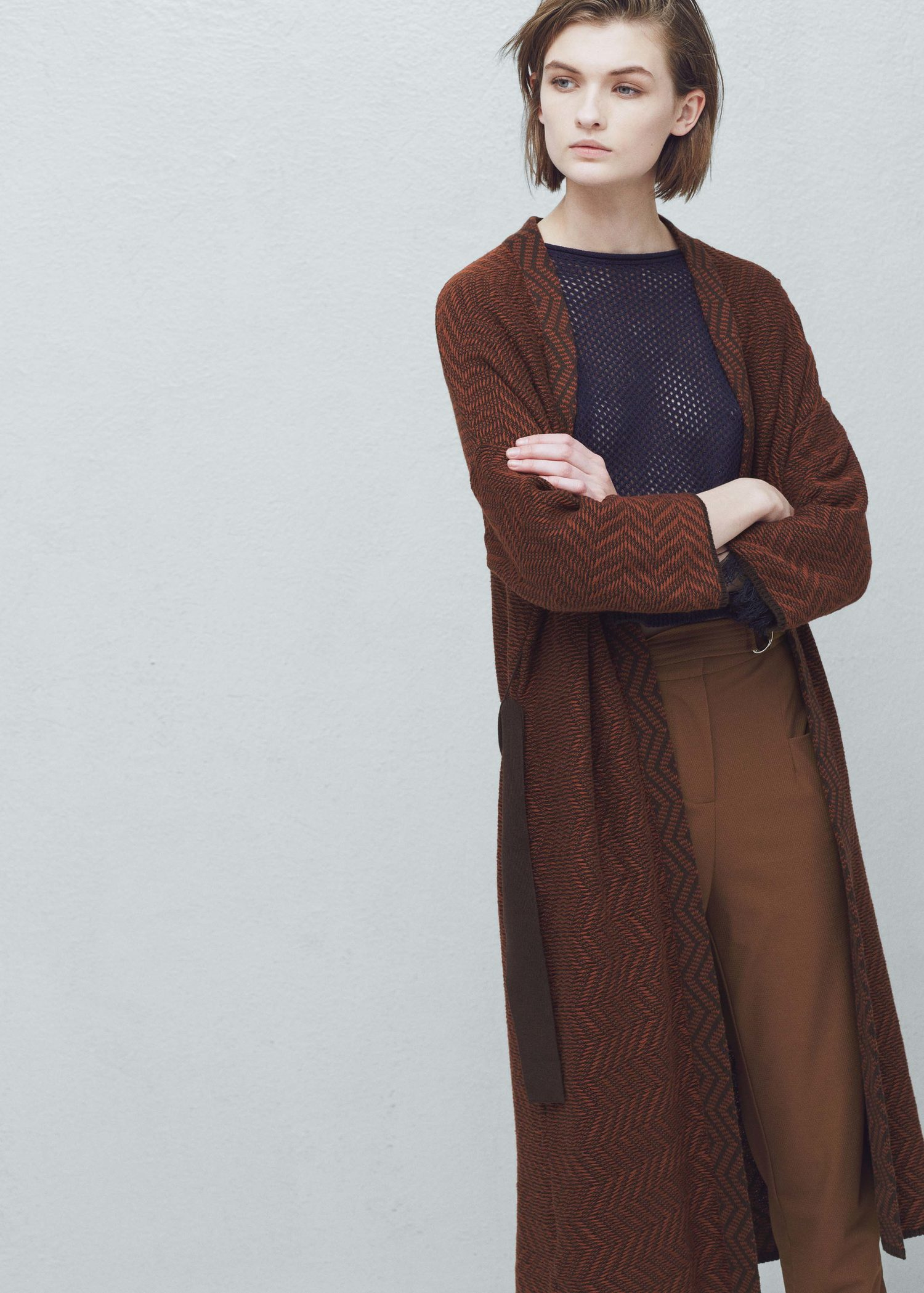 Mango Belt Cardigan in Brown | Lyst