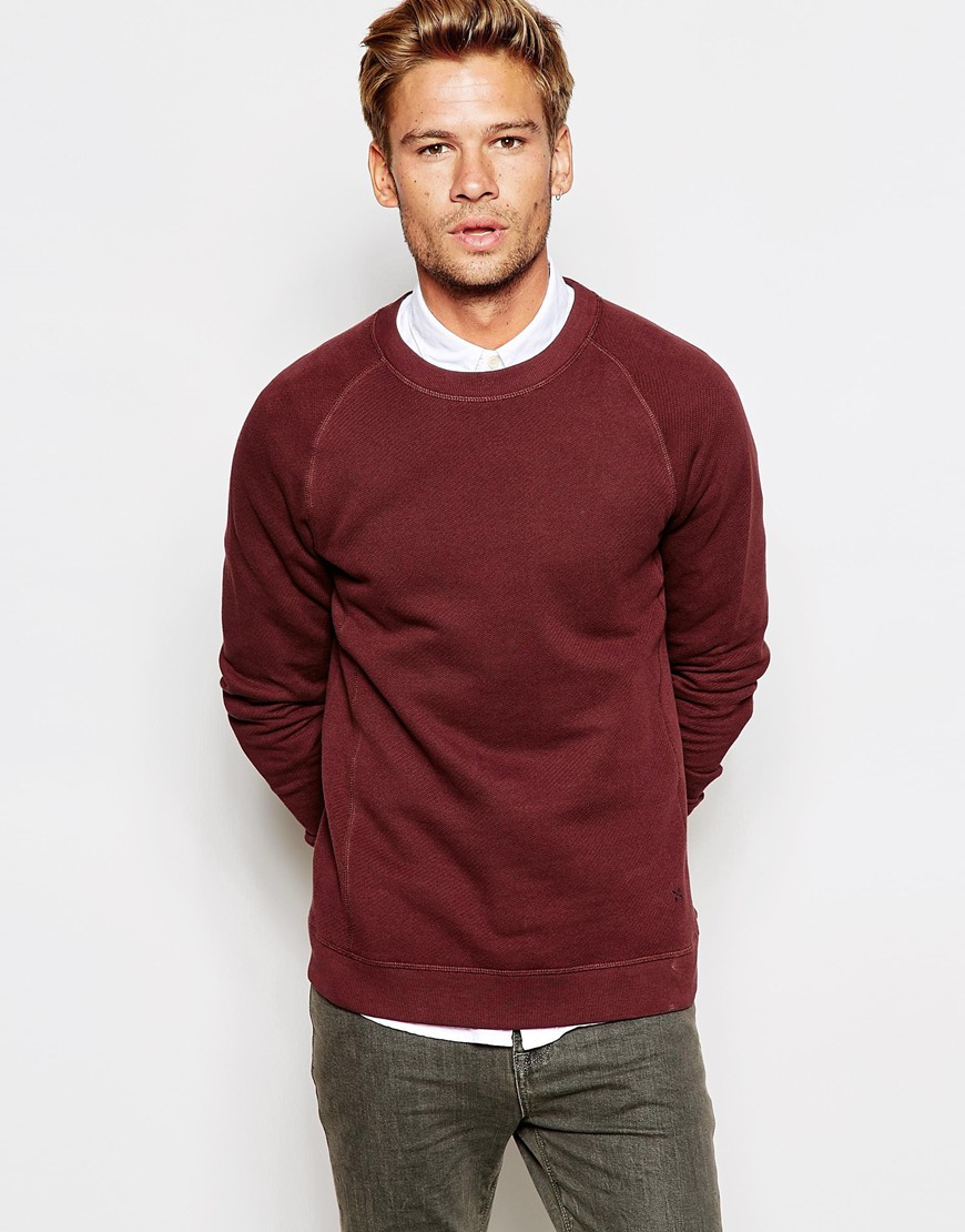 lyst selected sweatshirt with raglan sleeves in red for men. Black Bedroom Furniture Sets. Home Design Ideas