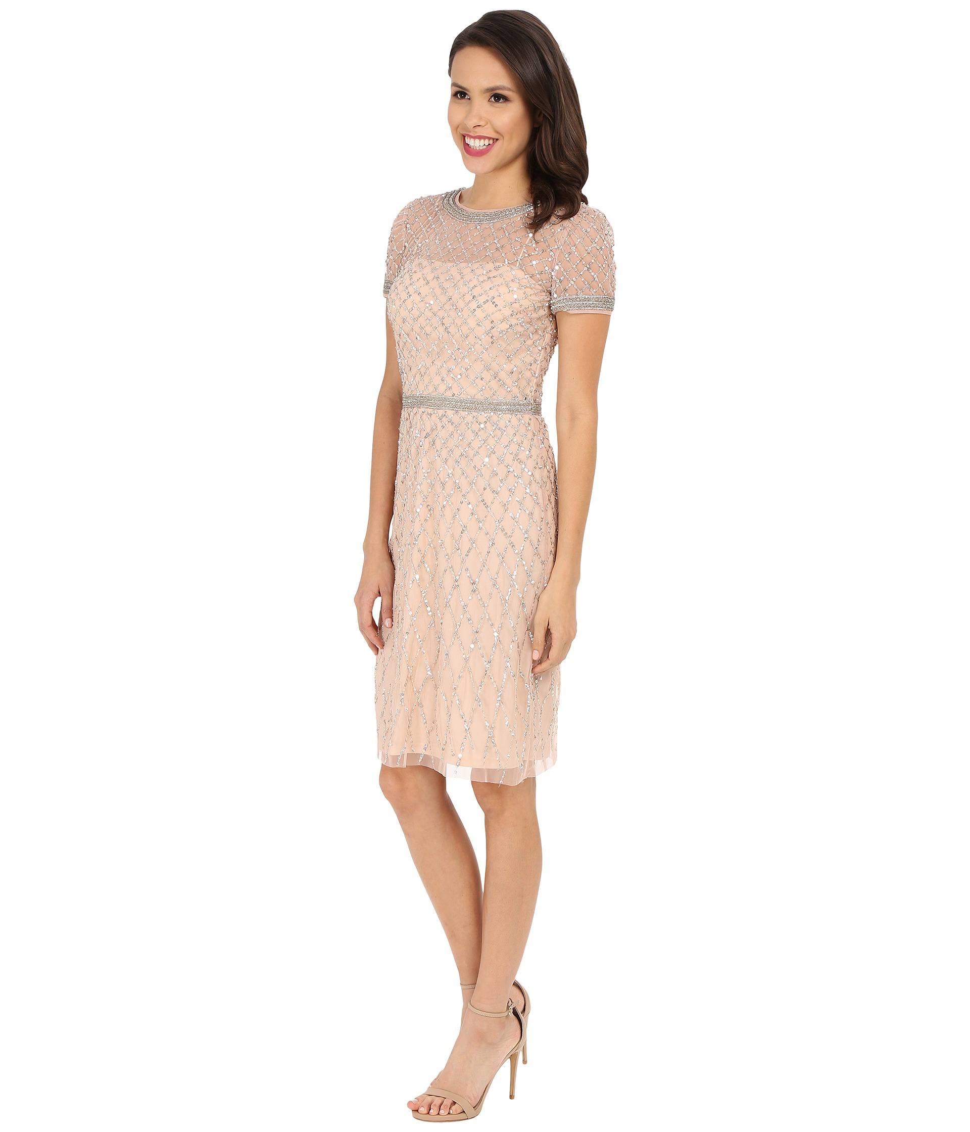 96711ac4 Adrianna Papell Short Sleeve Fully Beaded Cocktail Dress in Pink - Lyst