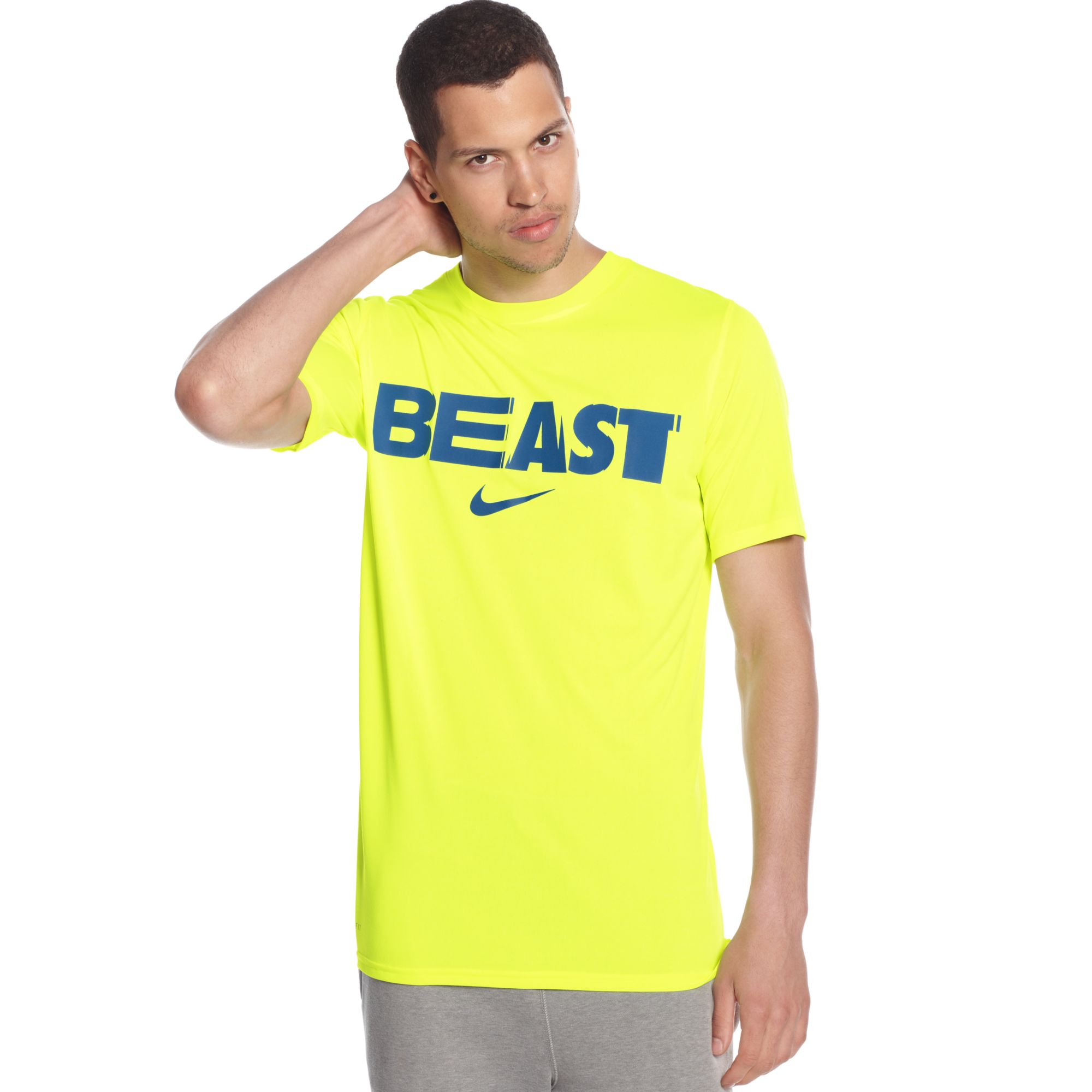 Nike football beast mode legend tshirt in yellow for men for Beast mode shirt under armour