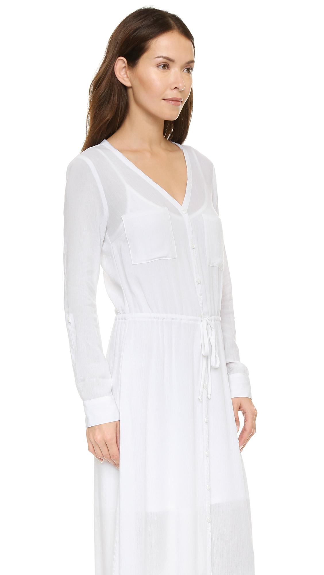 bbcbac3ea Splendid Gauze Maxi Shirt Dress - White in White - Lyst
