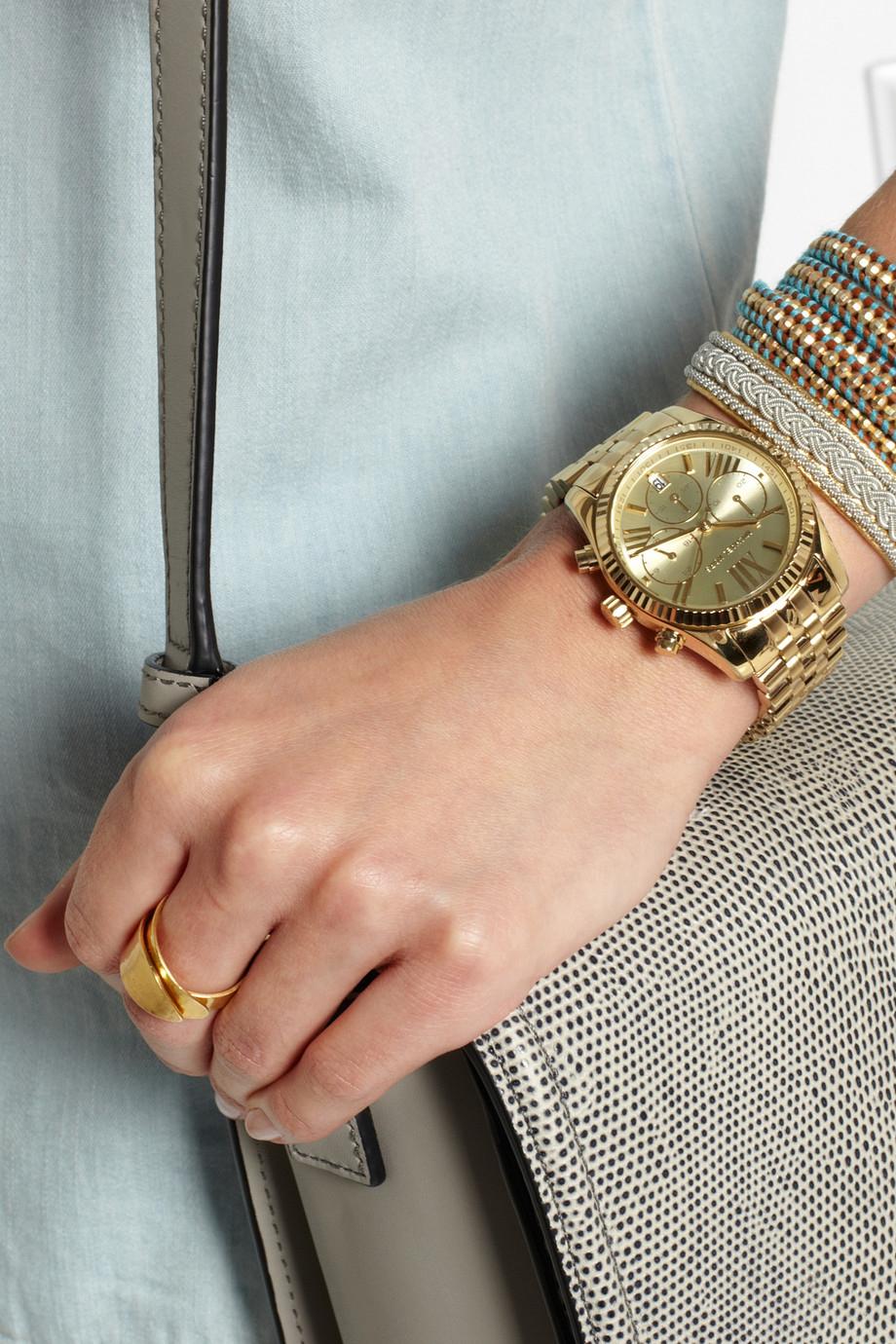 Lyst Michael Kors Lexington Gold Tone Watch In Metallic