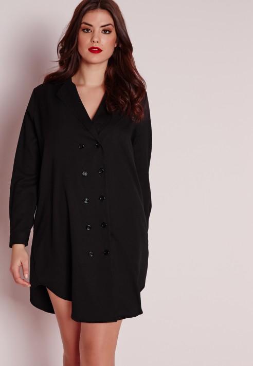 Lyst Missguided Plus Size Tux Shirt Dress Black In Black