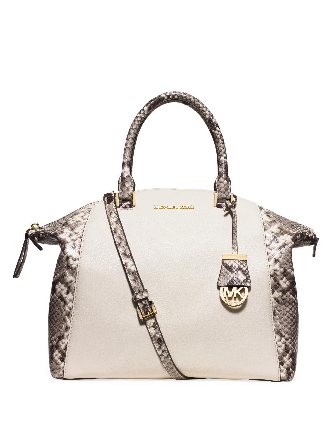 michael michael kors riley large python embossed satchel bag in brown lyst. Black Bedroom Furniture Sets. Home Design Ideas