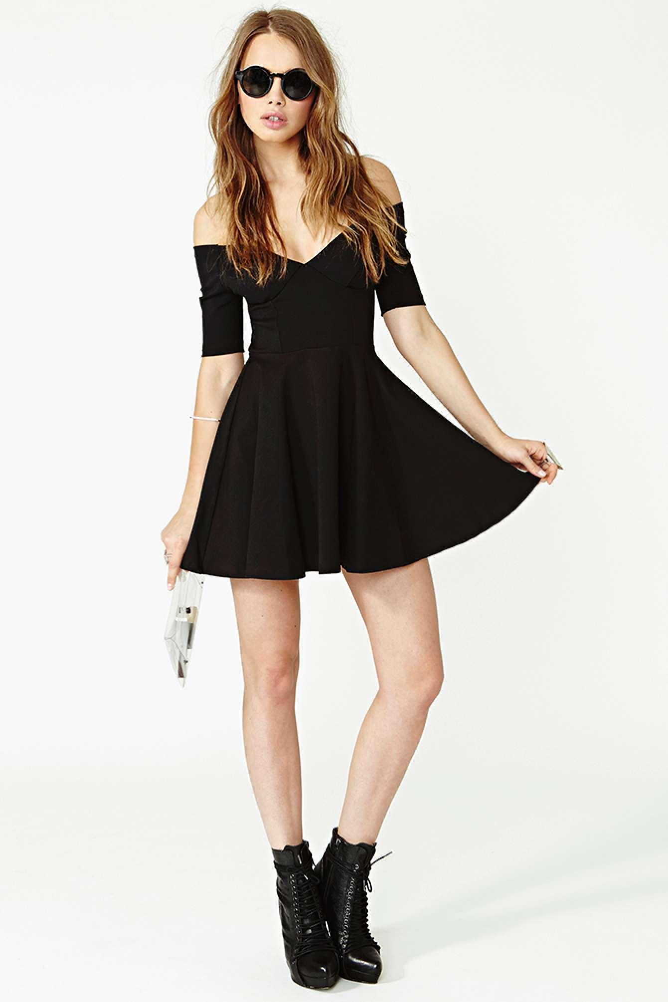 Lyst - Nasty Gal Hot Ticket Skater Dress In Black-9163