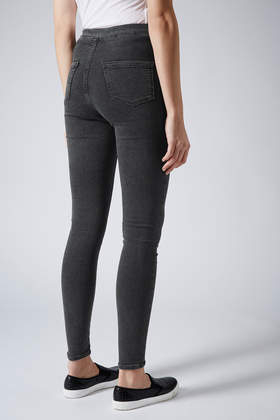 Topshop Moto Washed Black Joni Jeans in Black | Lyst