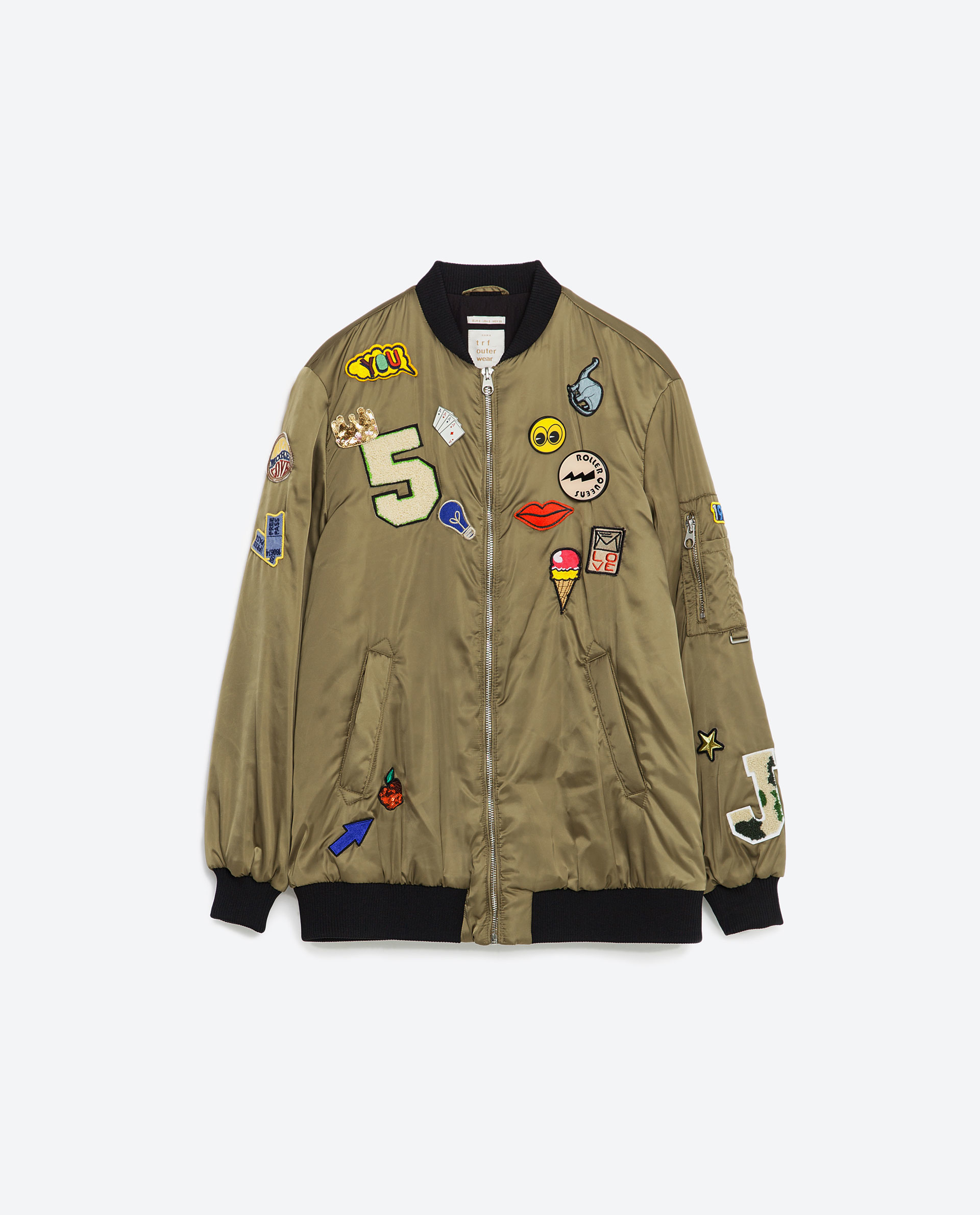 Zara Oversized Bomber Jacket With Patches In Natural | Lyst