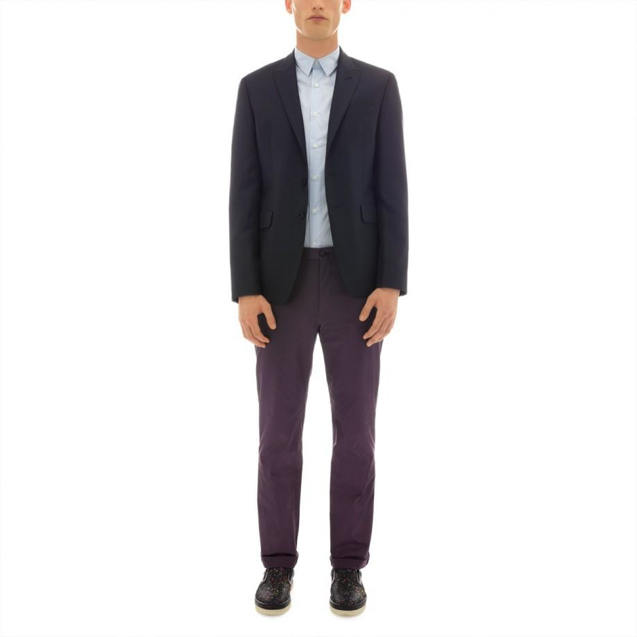paul smith s tailored fit navy micro dash wool